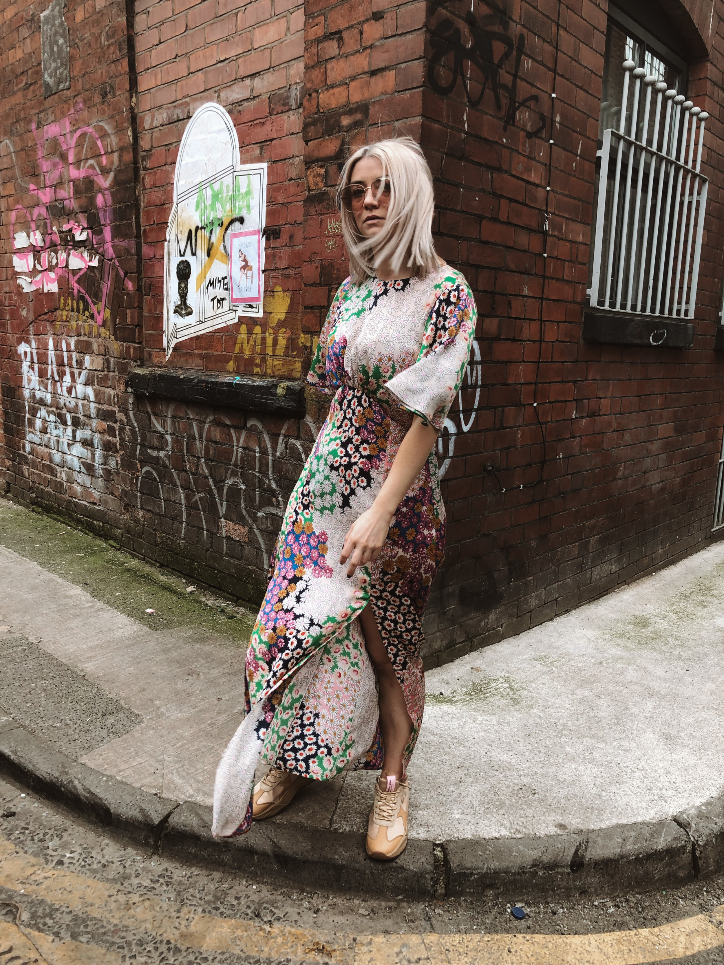 topshop auston dress, topshop floral dress, scotch and soda footwear, chunky trainers, summer dress, dresses and trainers, joey taylor, northern quarter 4