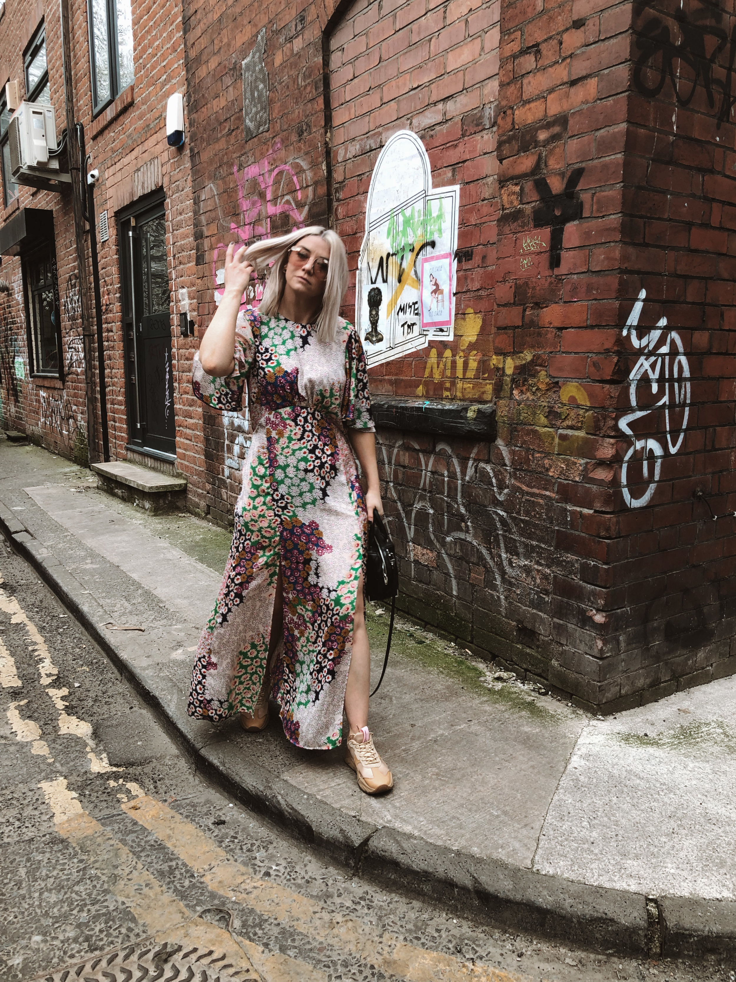 topshop auston dress, topshop floral dress, scotch and soda footwear, chunky trainers, summer dress, dresses and trainers, joey taylor, northern quarter 5