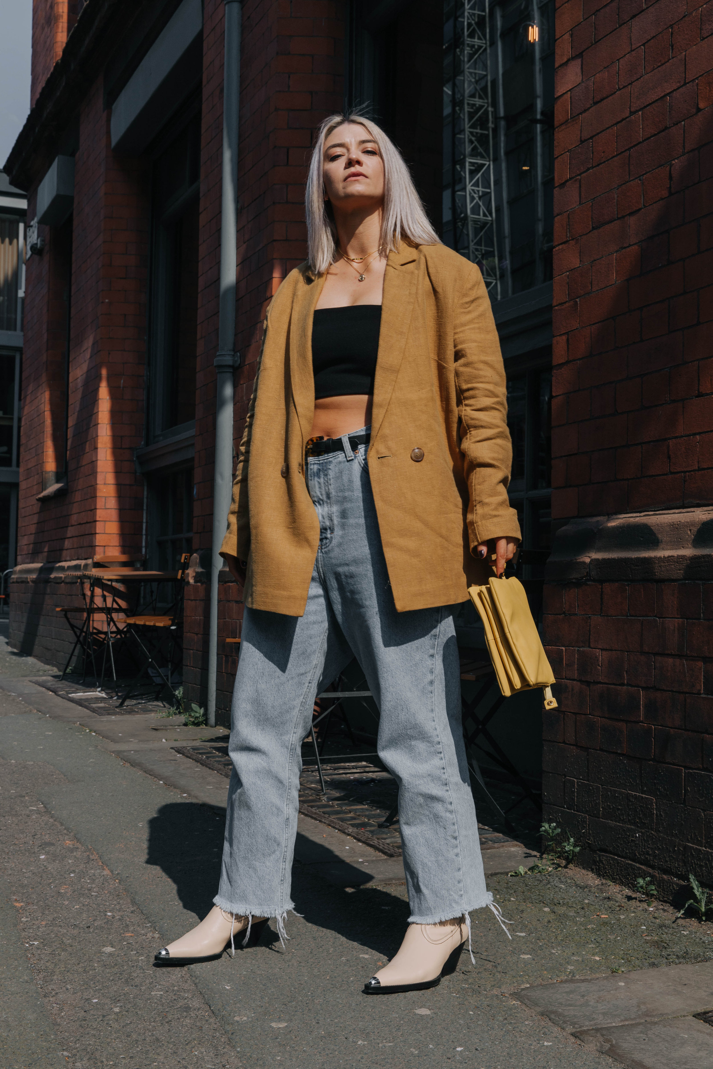CROP TOP AND VINTAGE JEANS, WITH A BLAZER AND SS19 COWBOYS IN NORTHERN QUARTER, MANCHESTER 1