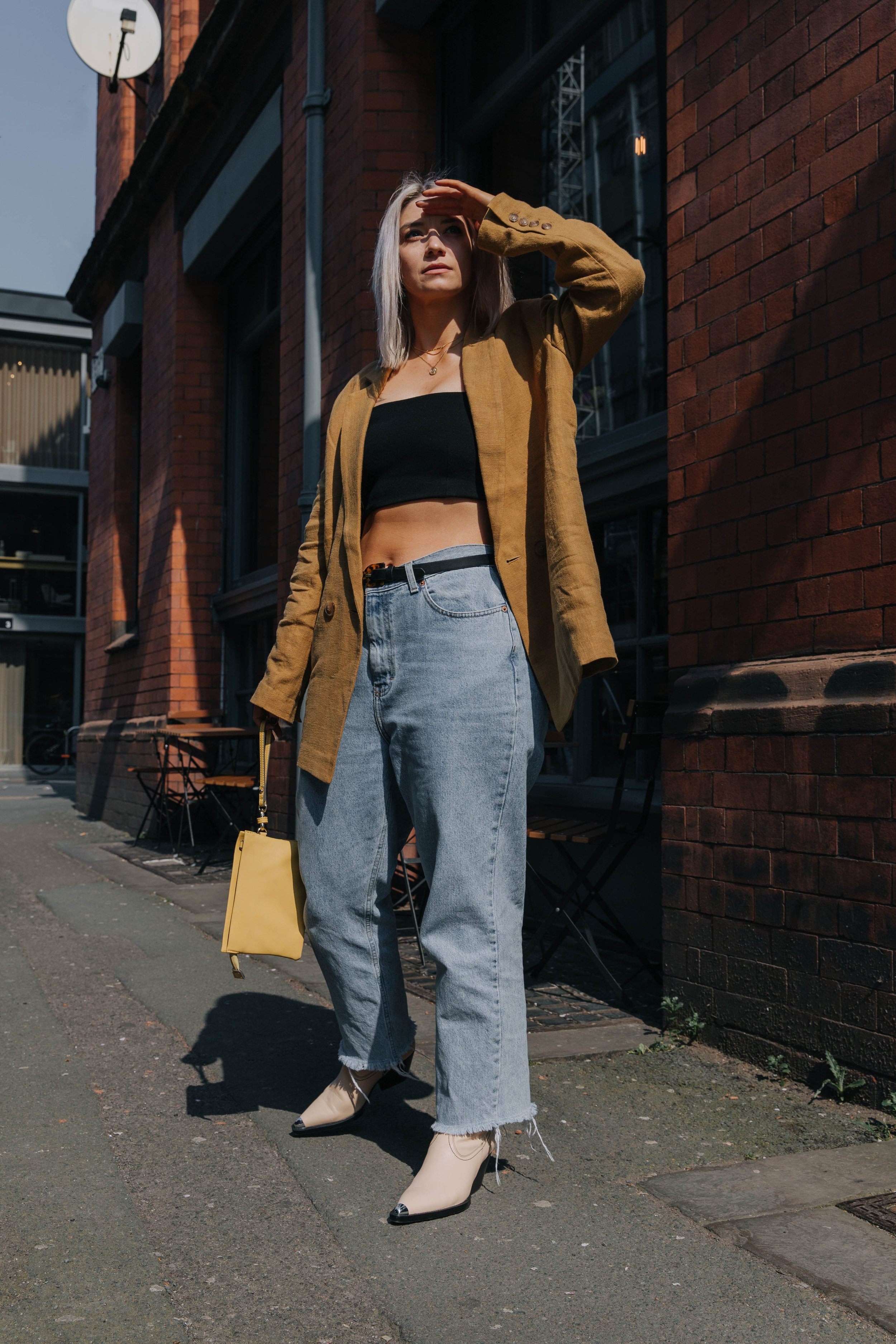CROP TOP AND VINTAGE JEANS, WITH A BLAZER AND SS19 COWBOYS IN NORTHERN QUARTER, MANCHESTER 3