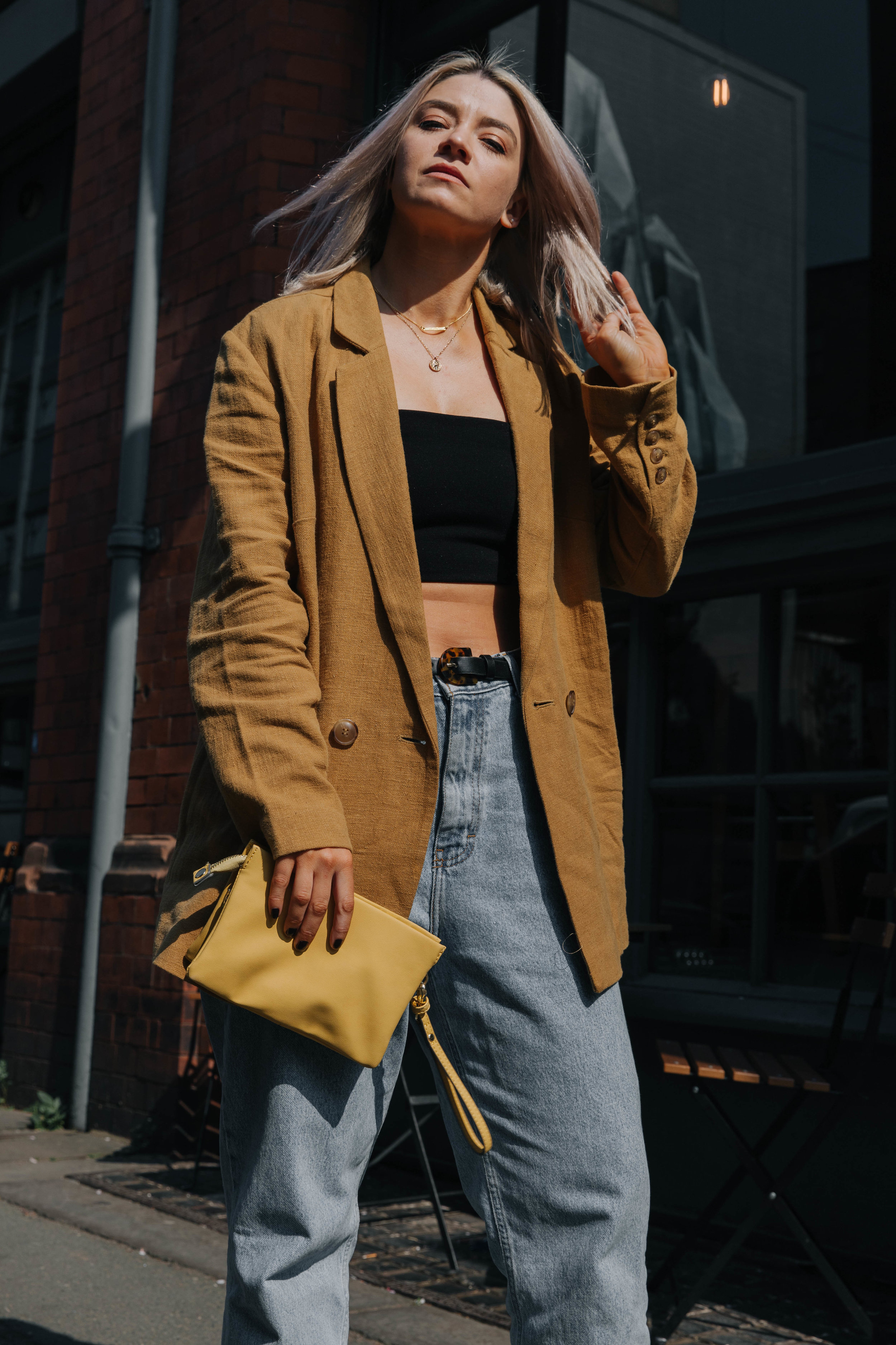 CROP TOP AND VINTAGE JEANS, WITH A BLAZER AND SS19 COWBOYS IN NORTHERN QUARTER, MANCHESTER 4