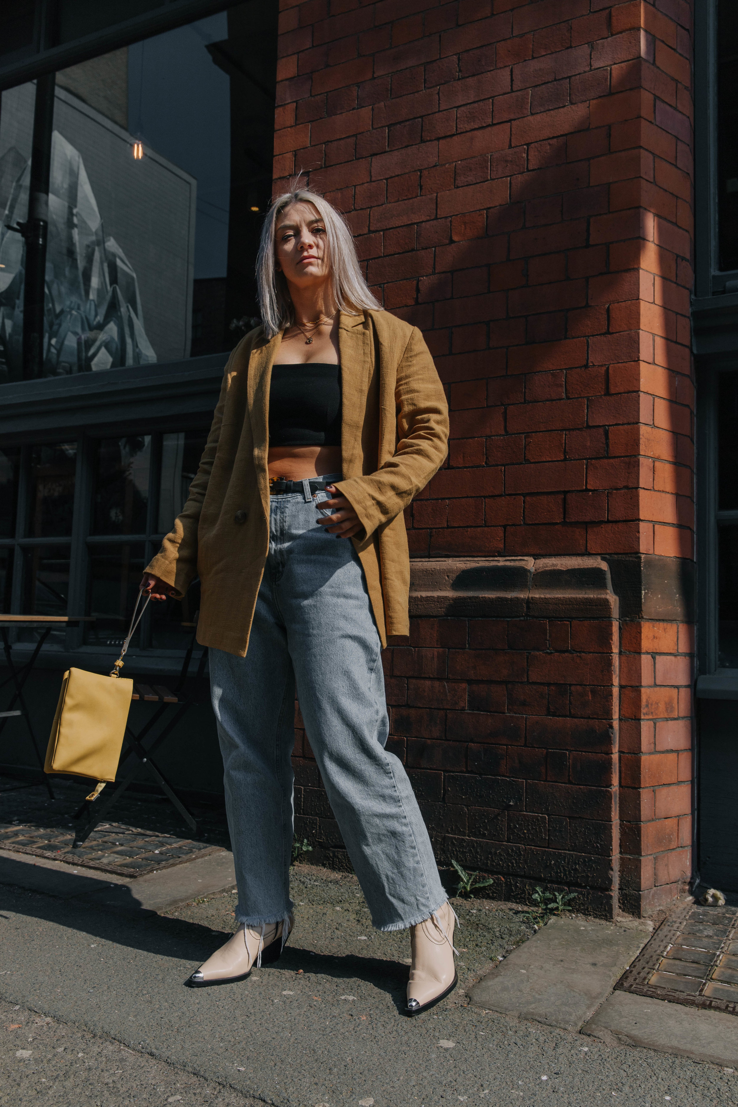 CROP TOP AND VINTAGE JEANS, WITH A BLAZER AND SS19 COWBOYS IN NORTHERN QUARTER, MANCHESTER 5