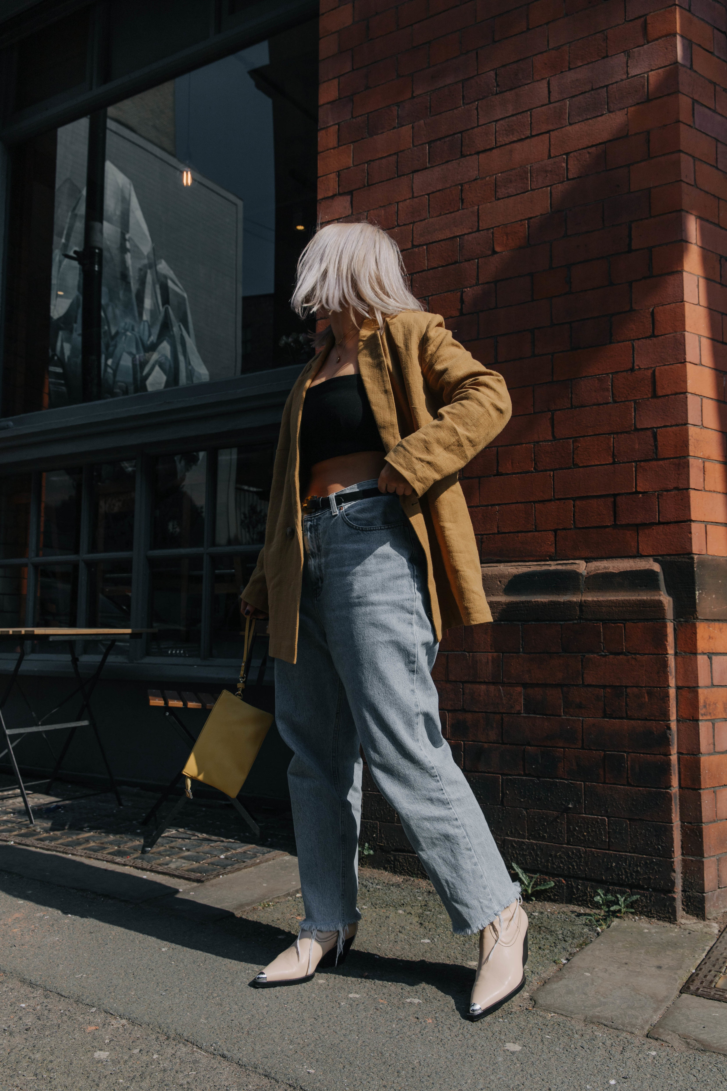 CROP TOP AND VINTAGE JEANS, WITH A BLAZER AND SS19 COWBOYS IN NORTHERN QUARTER, MANCHESTER 6