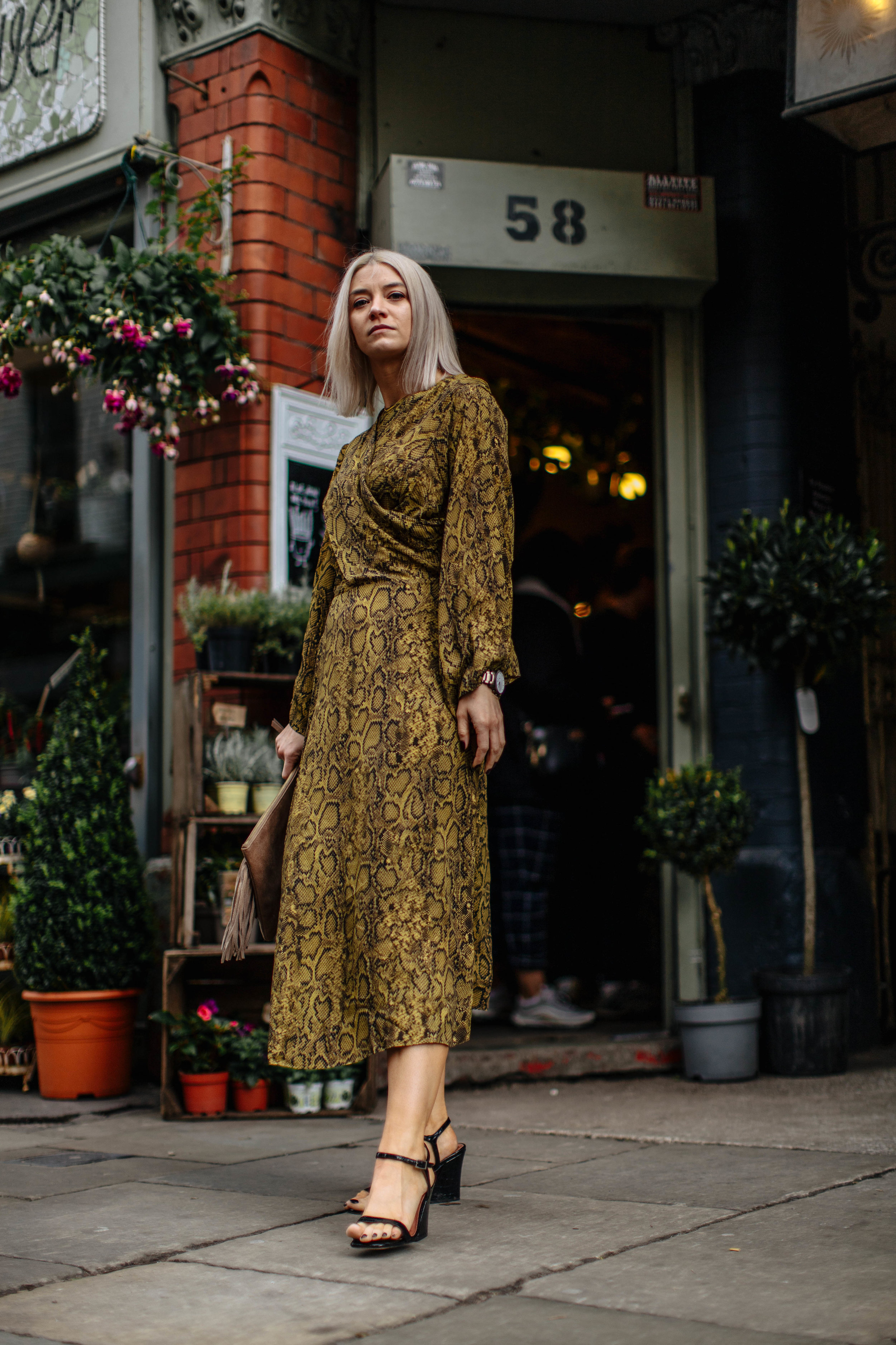 snake print wedding guest look, in the northern quarter manchester, for the summer 1