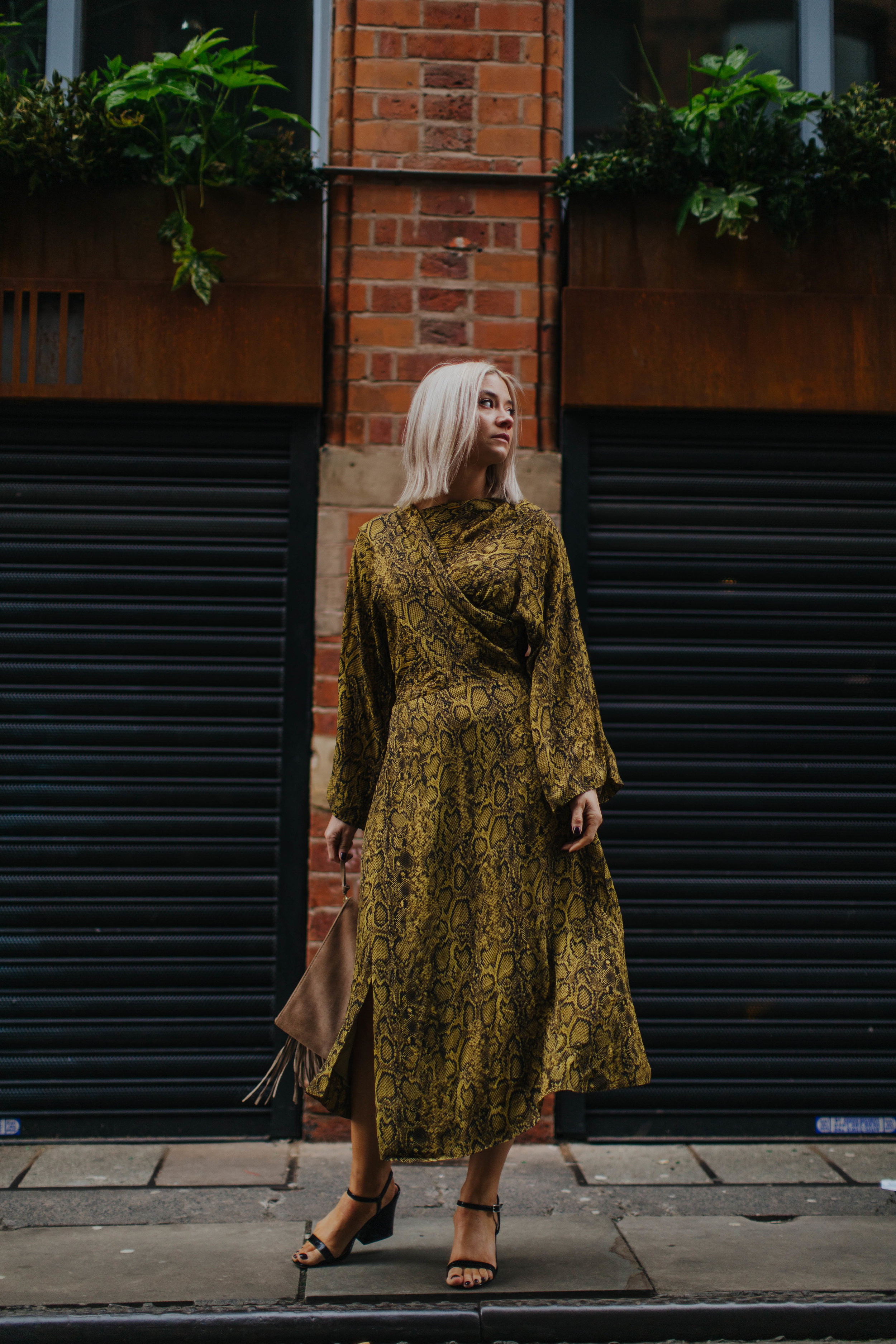 snake print wedding guest look, in the northern quarter manchester, for the summer 2