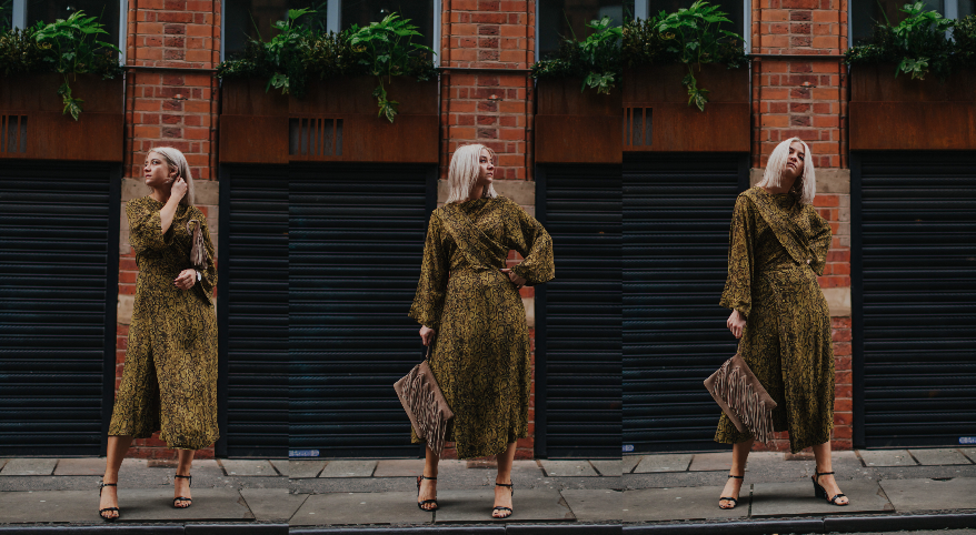 snake print wedding guest look, in the northern quarter manchester, for the summer 3