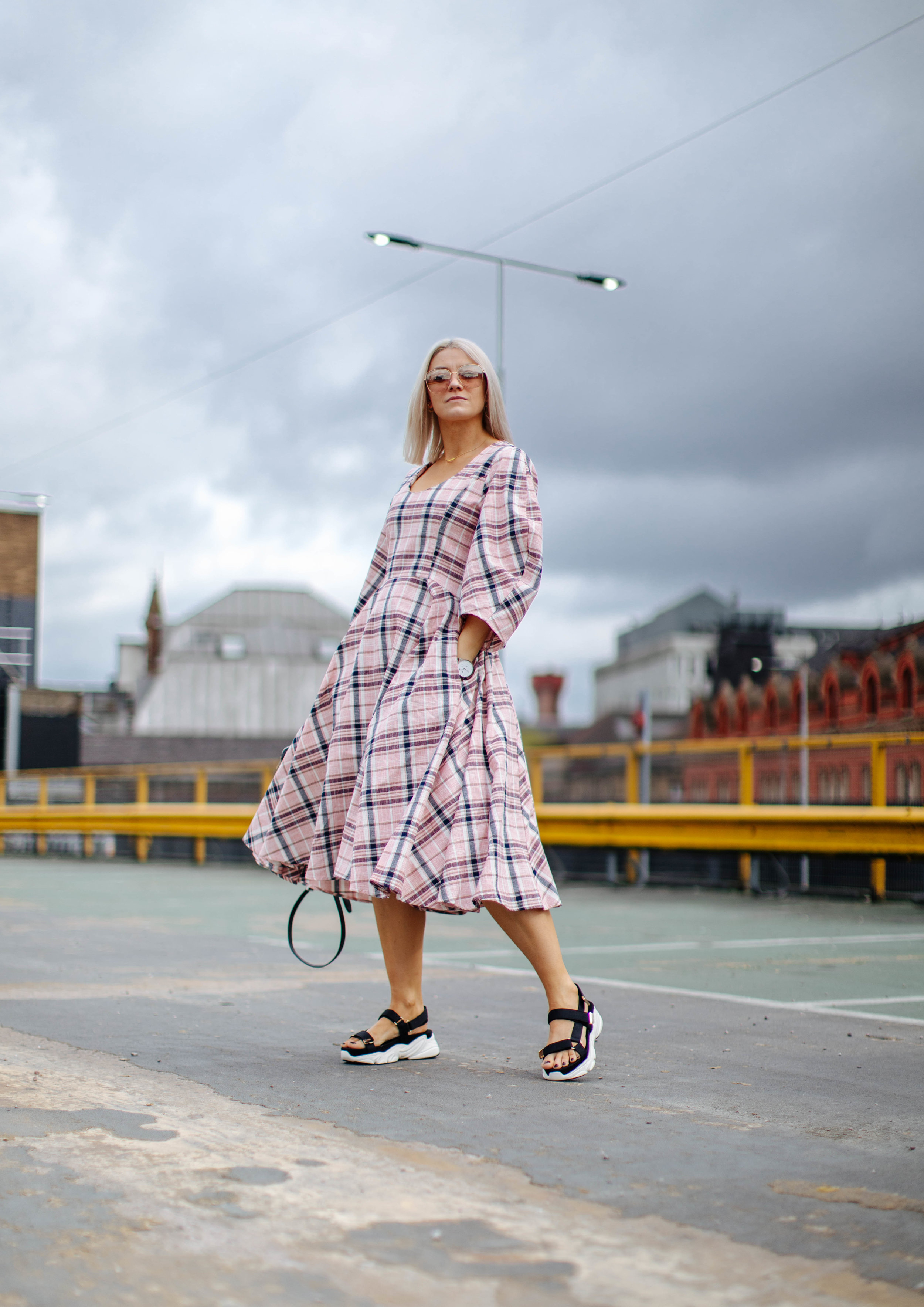 check ASOS white midi dress, in northern quarter Manchester in may summer time, with chunky sandals street style look 1
