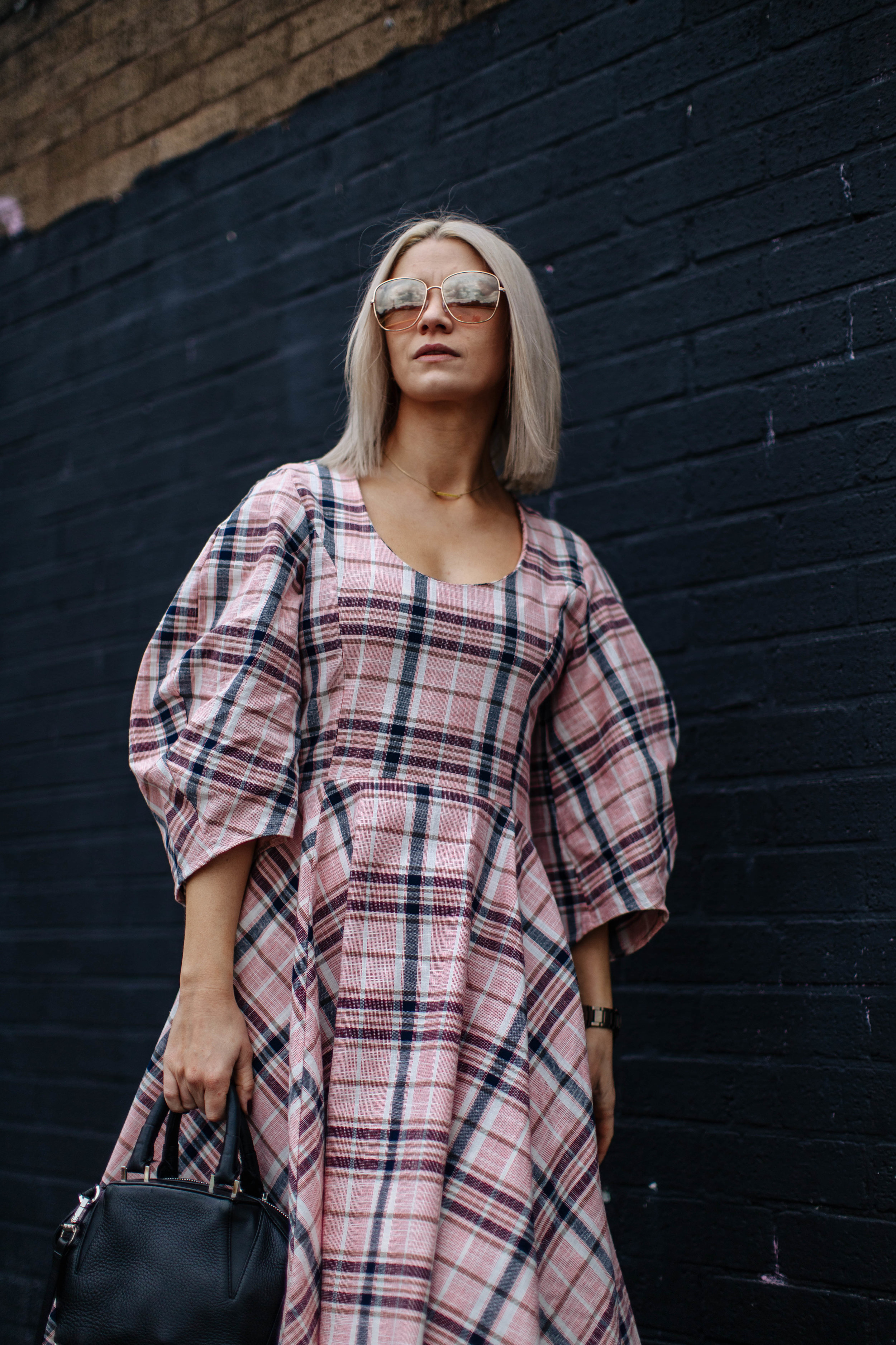 check ASOS white midi dress, in northern quarter Manchester in may summer time, with chunky sandals street style look. white blonde bob with sunglasses 2