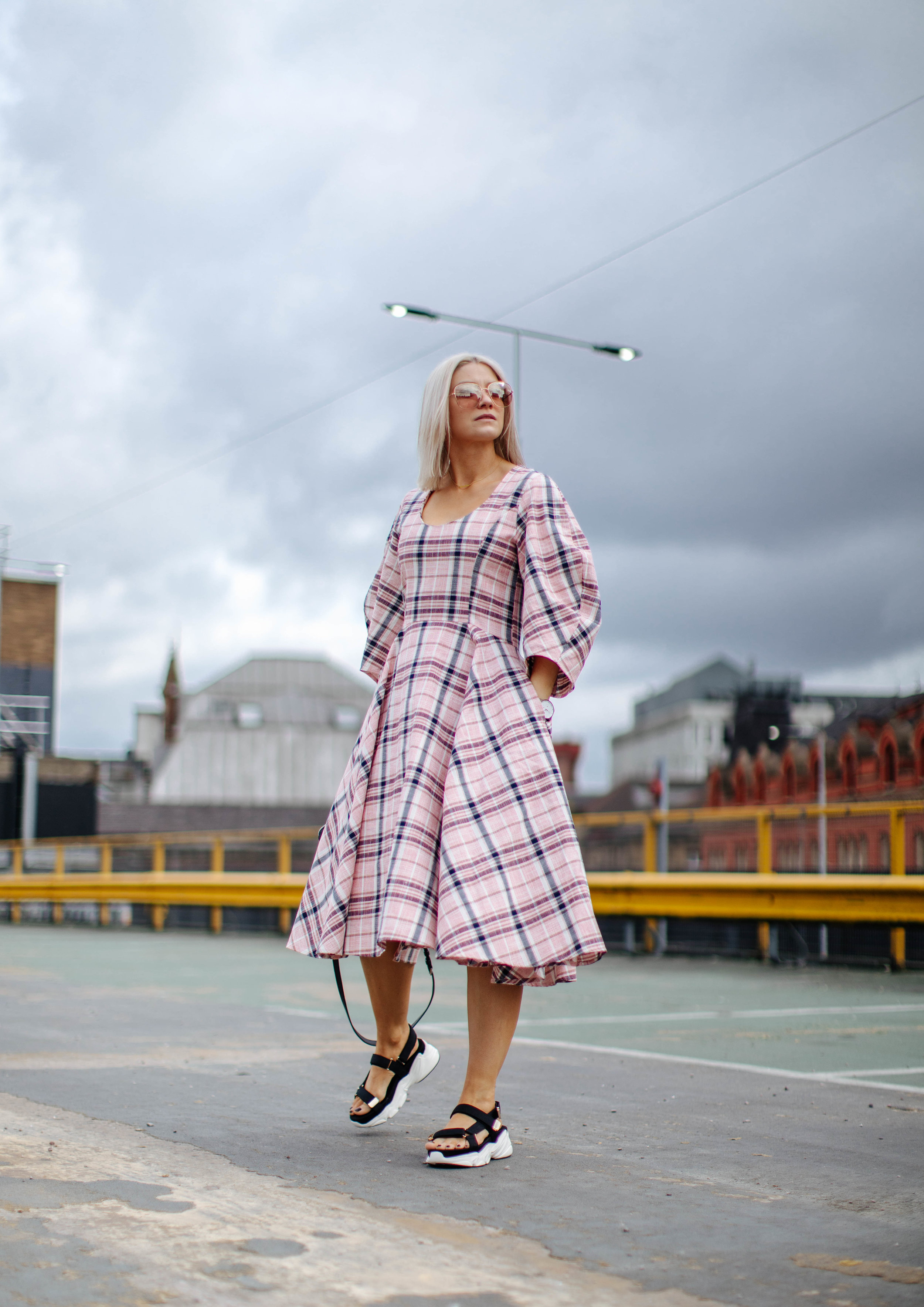 check ASOS white midi dress, in northern quarter Manchester in may summer time, with chunky sandals street style look. white blonde bob with sunglasses 3