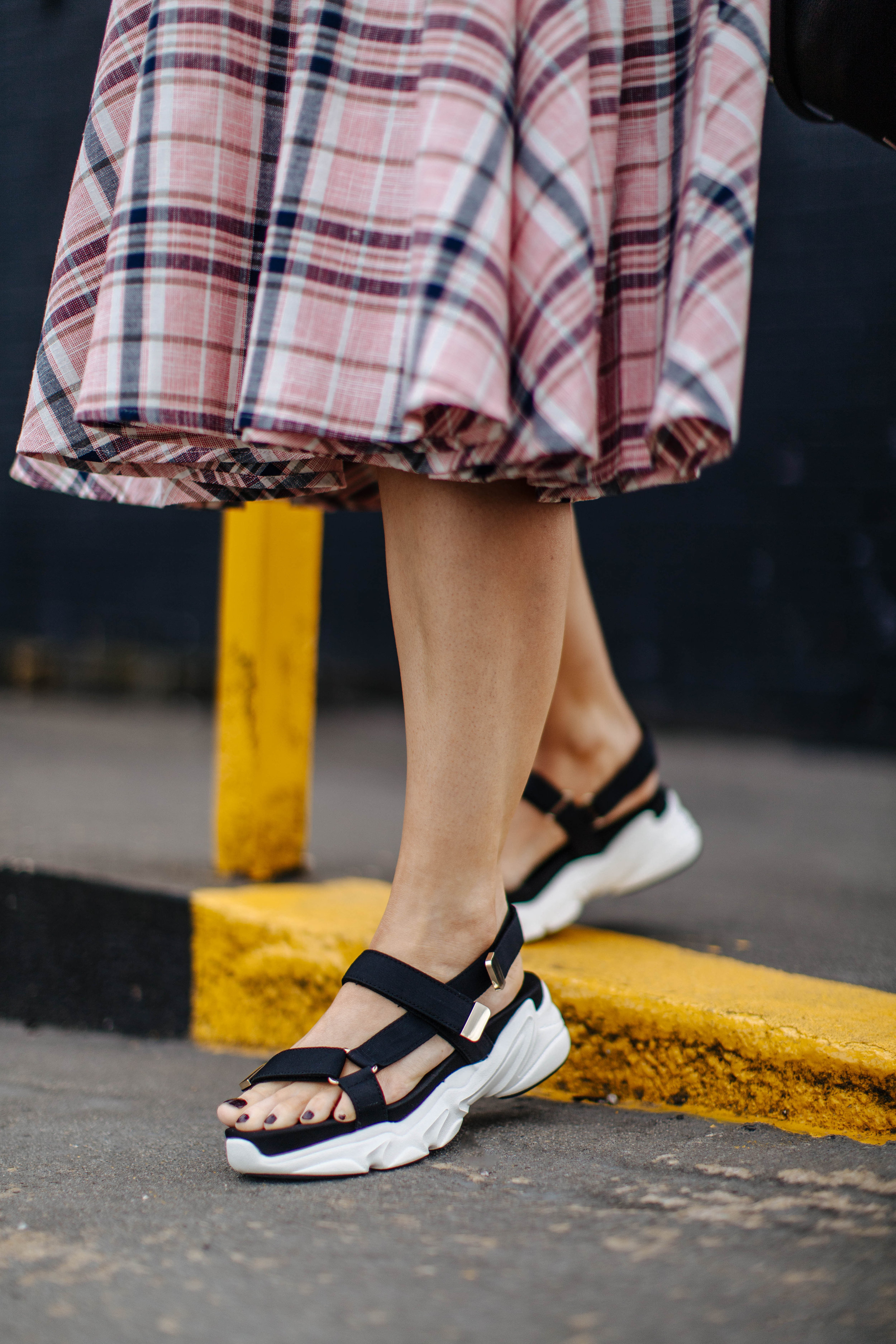 check ASOS white midi dress, in northern quarter Manchester in may summer time, with chunky sandals street style look. white blonde bob with sunglasses 5