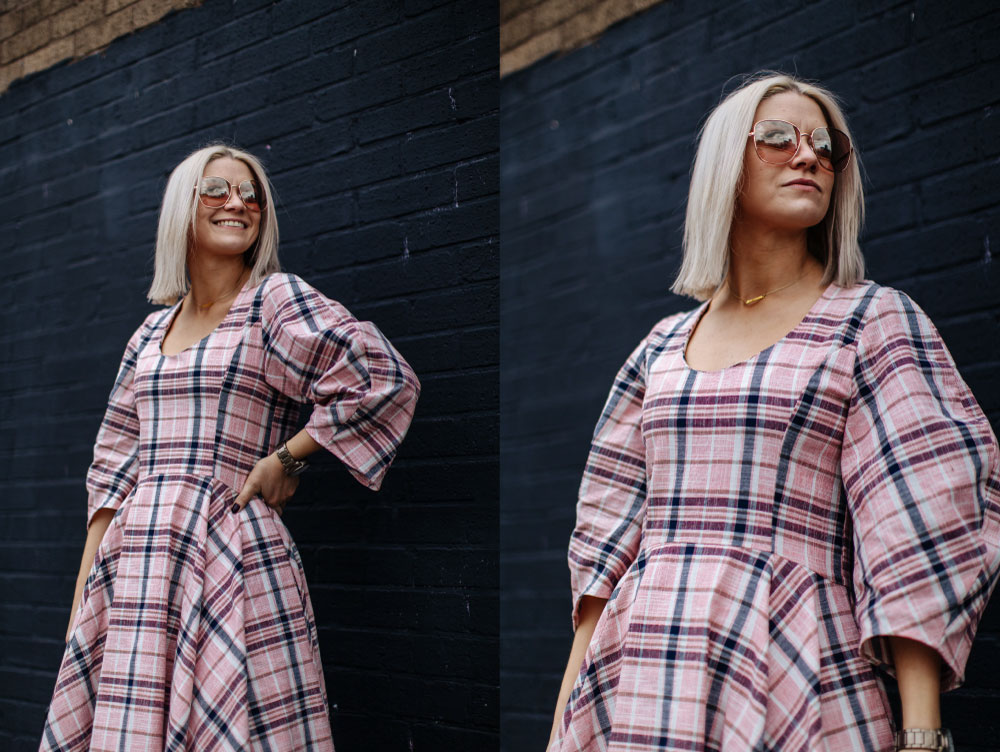 check ASOS white midi dress, in northern quarter Manchester in may summer time, with chunky sandals street style look. white blonde bob with sunglasses 4