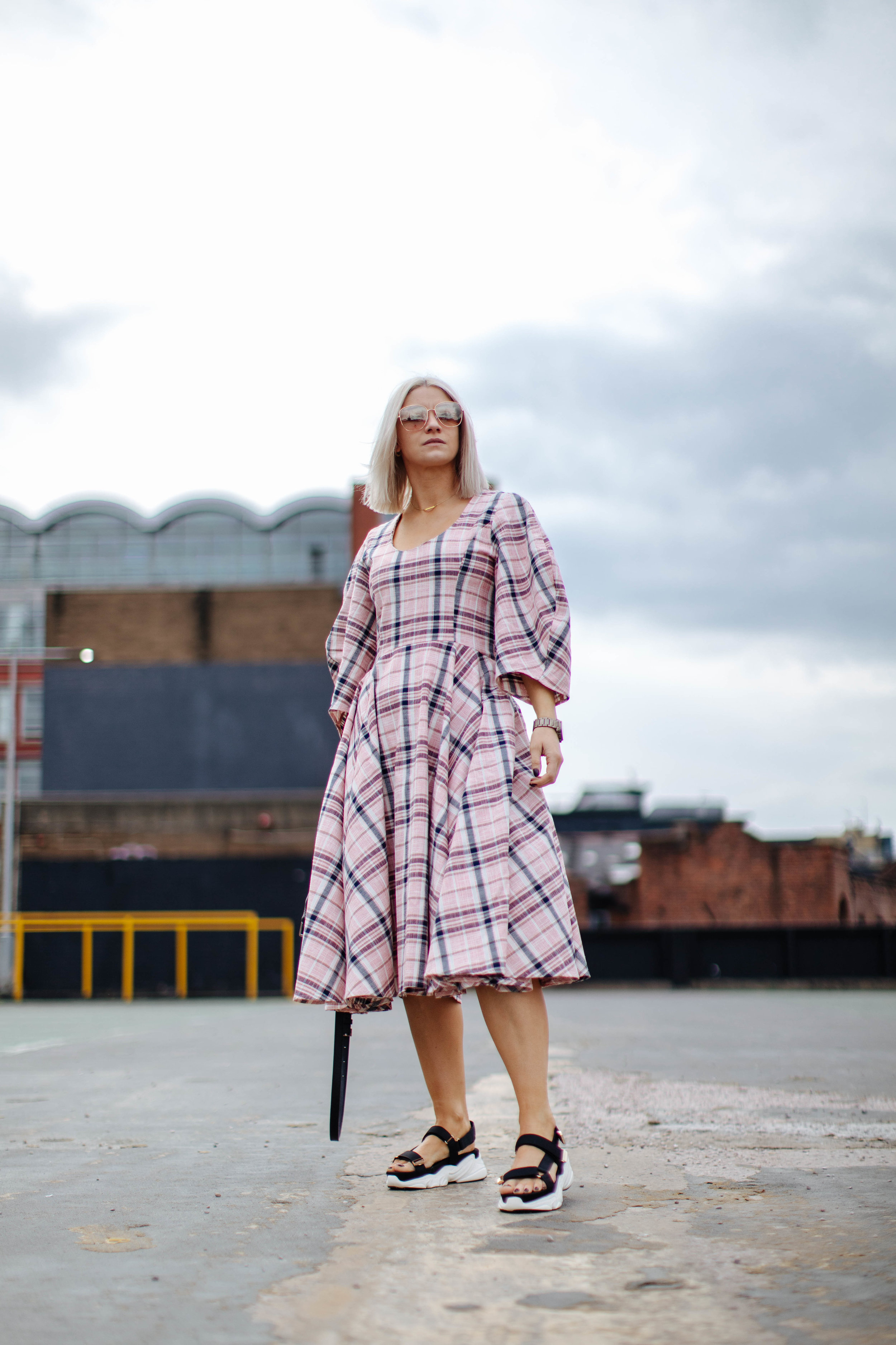 check ASOS white midi dress, in northern quarter Manchester in may summer time, with chunky sandals street style look. white blonde bob with sunglasses 6