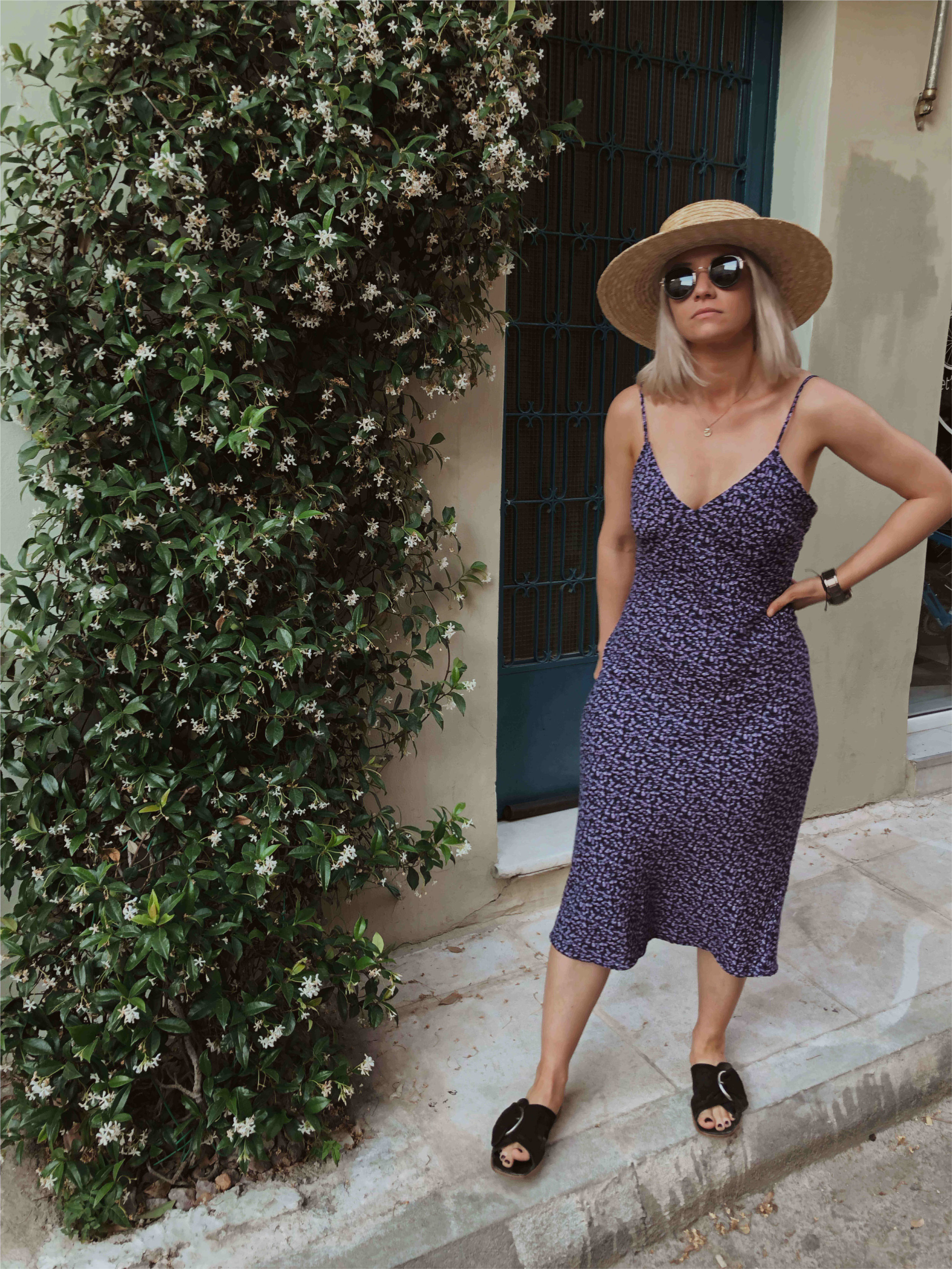 Day trip to Athens, in a vintage slip dress with a straw hat, northern magpie, joey taylor 1