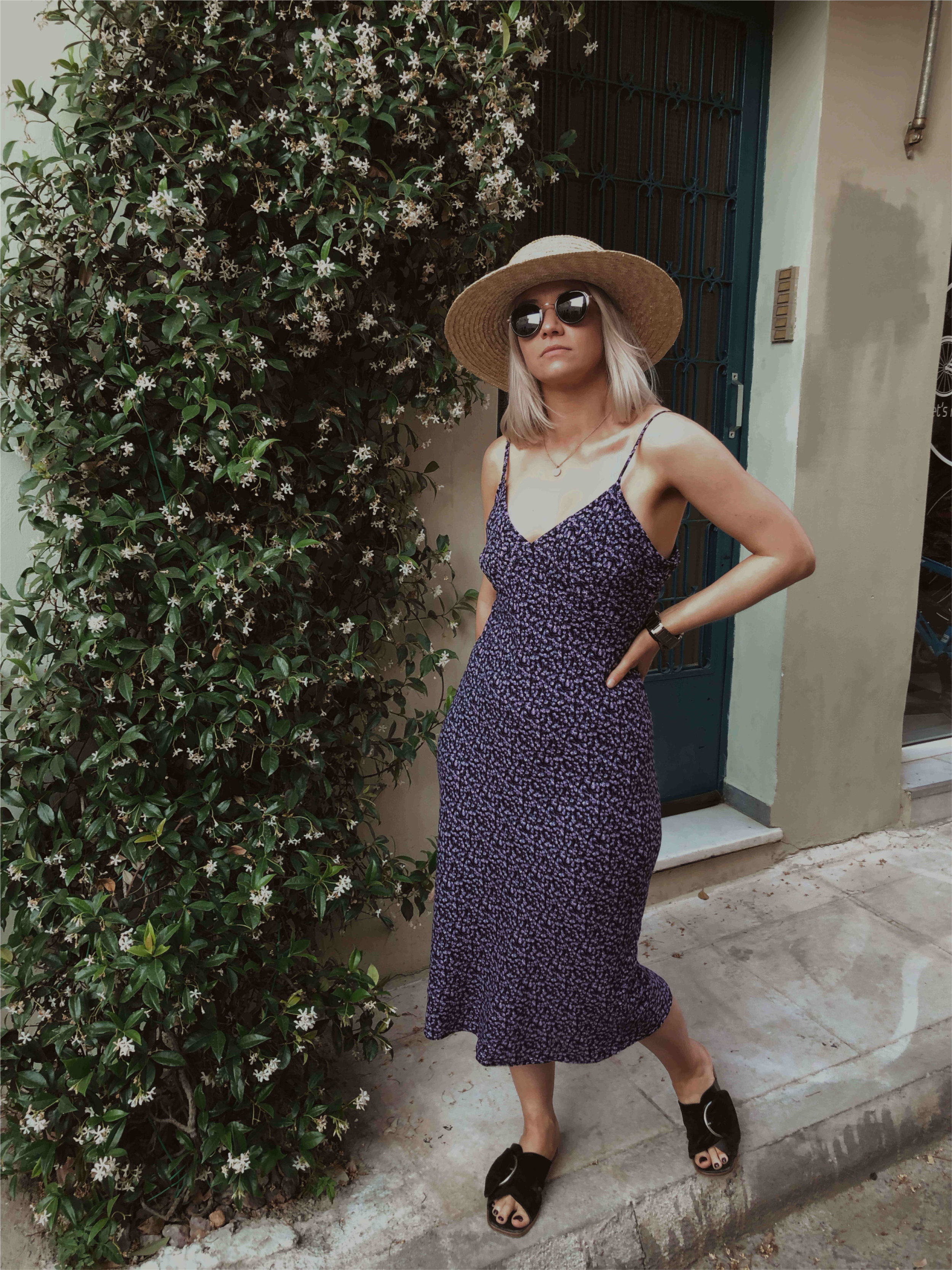 Day trip to Athens, in a vintage slip dress with a straw hat, northern magpie, joey taylor 3