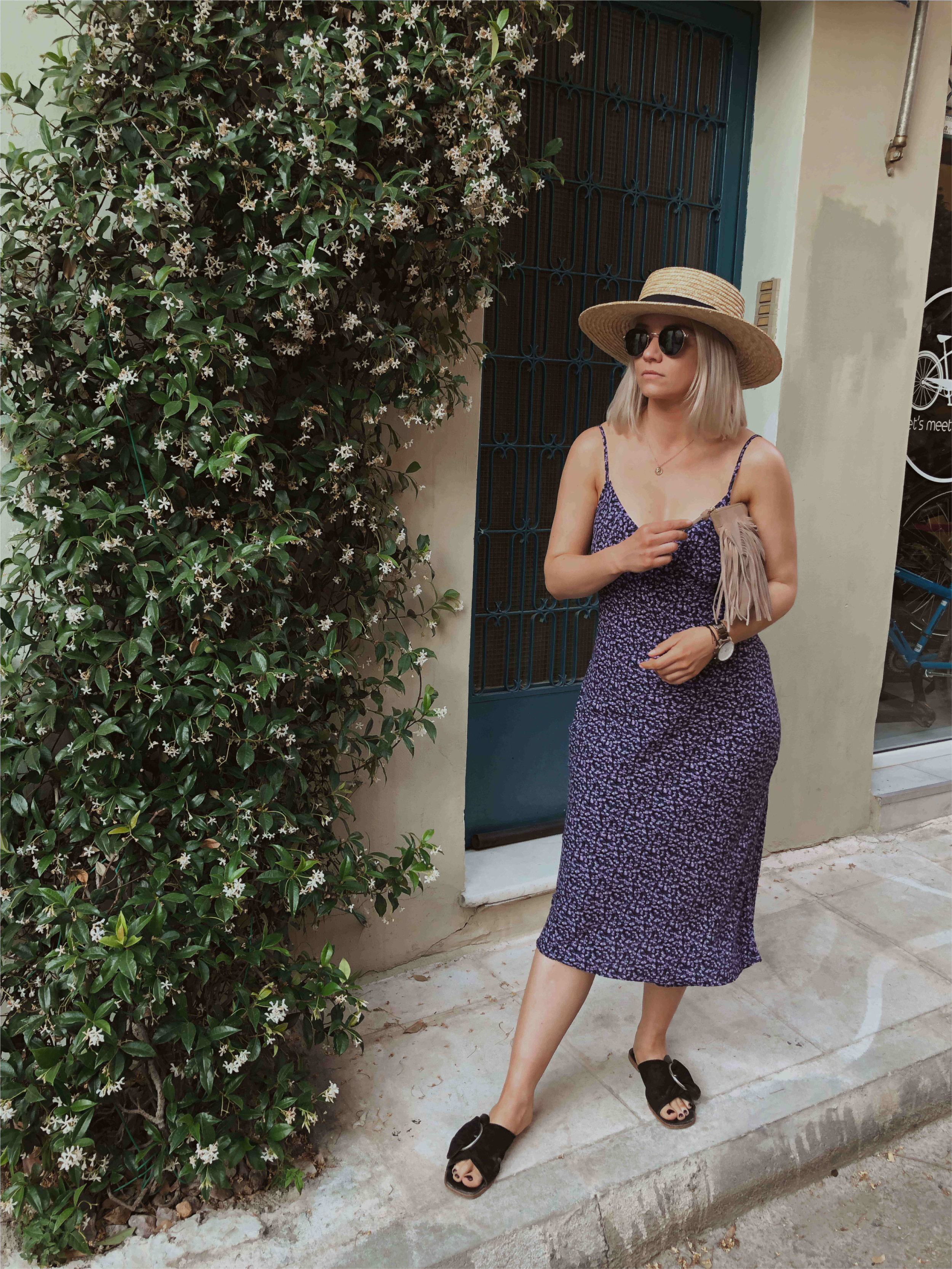Day trip to Athens, in a vintage slip dress with a straw hat, northern magpie, joey taylor 5