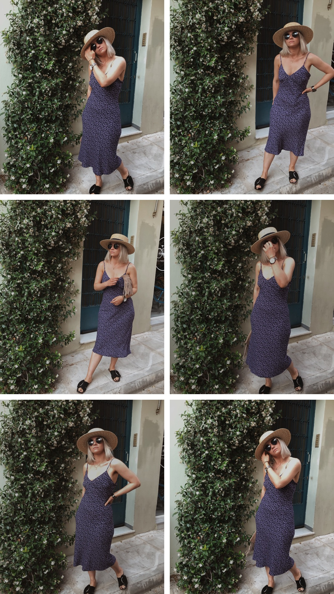 Day trip to Athens, in a vintage slip dress with a straw hat, northern magpie, joey taylor 4