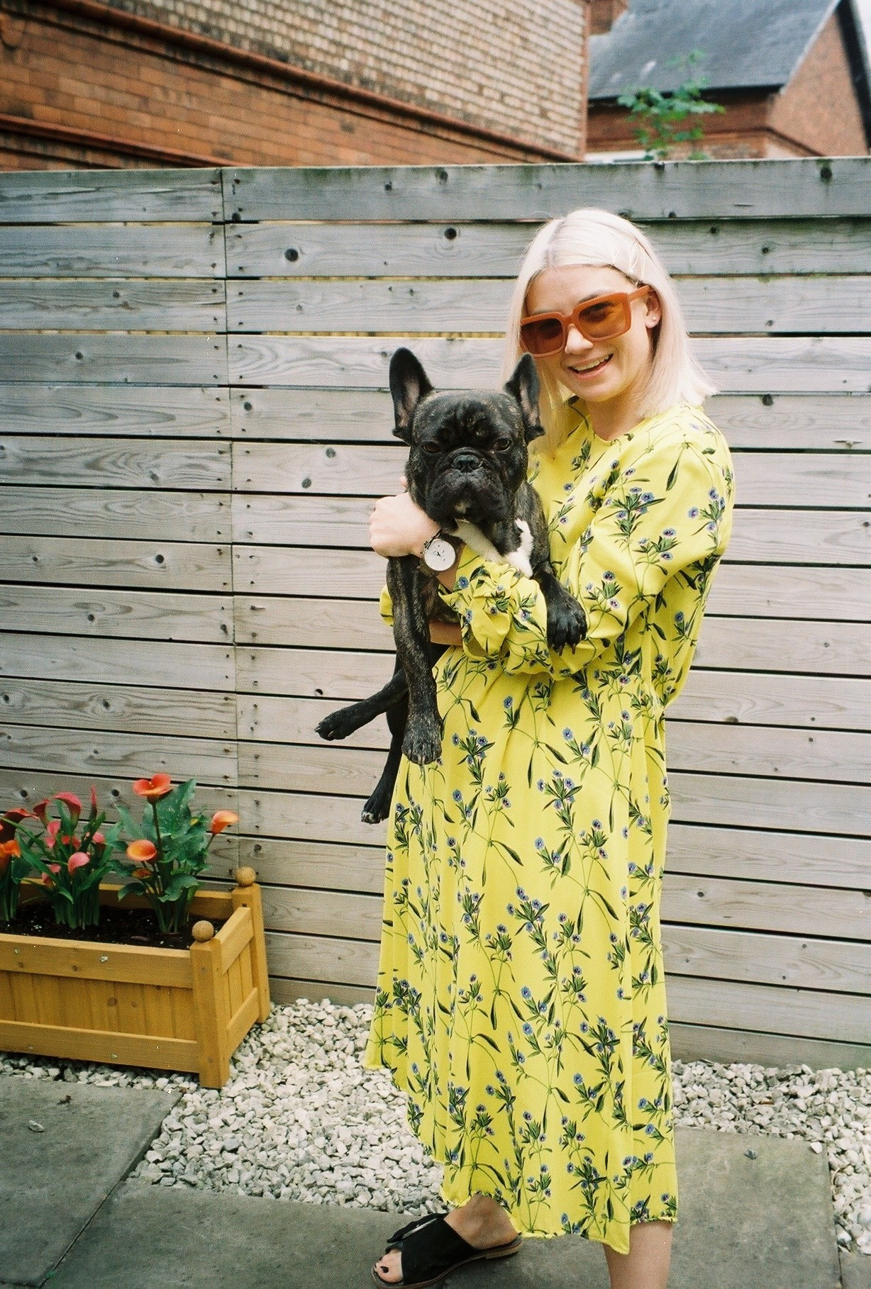 preloved clothes and online vintage shopping, in midi floral dress and a french bulldog called bernard 1