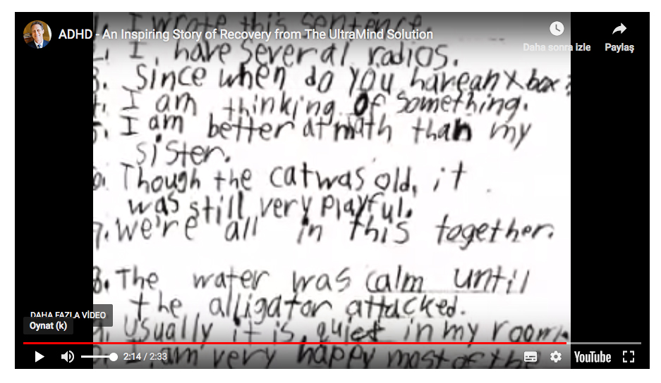 Tedavi sonrası Clayton'un el yazısı.
