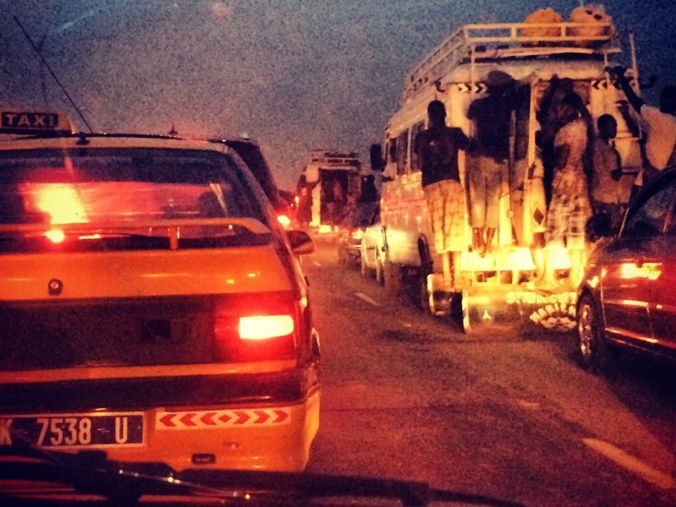 Dakar after 6 PM Traffic everywhere
