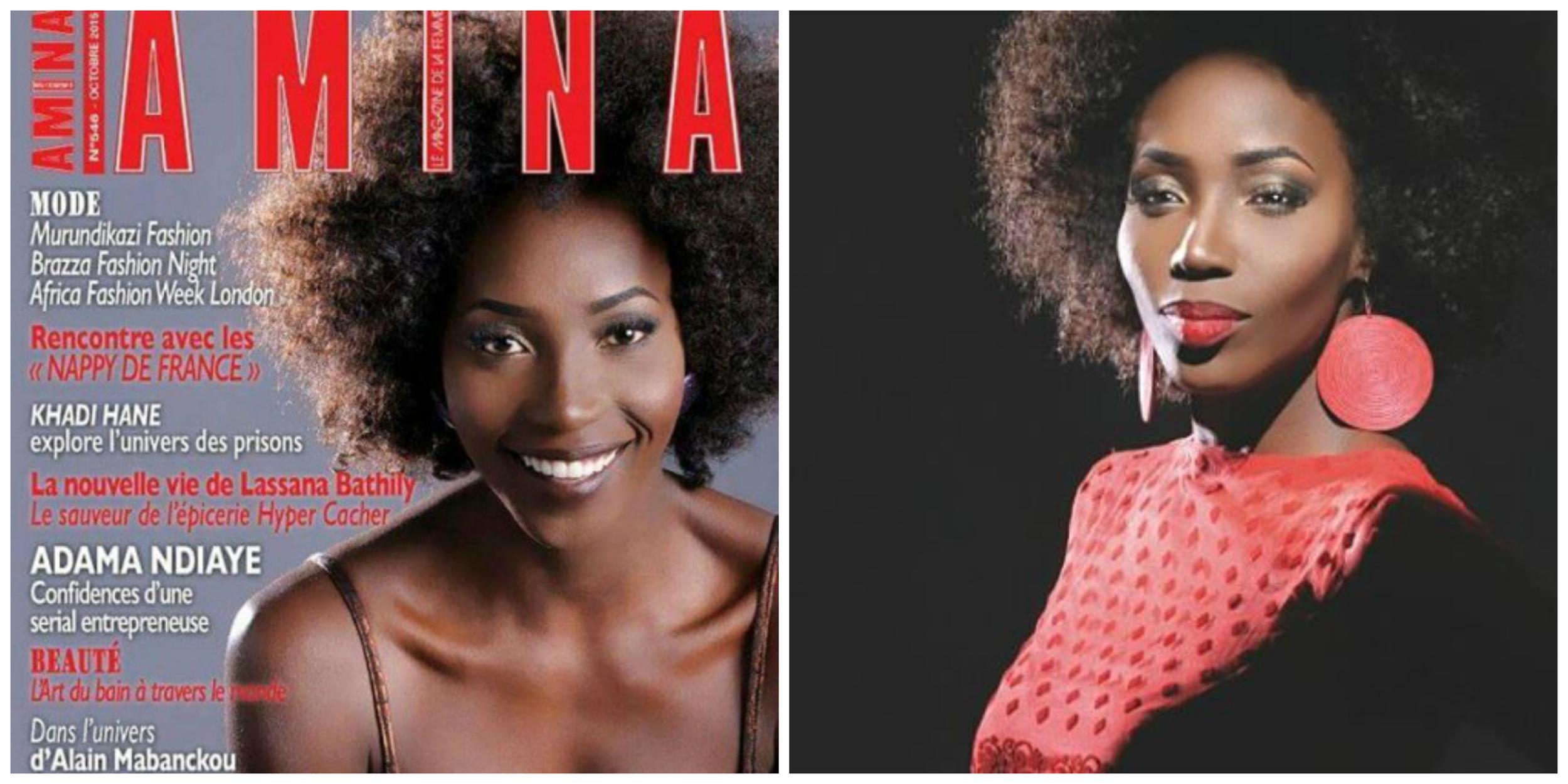 Adama Paris maquillée par Aissatou pour la Couverture de Amina Magazine