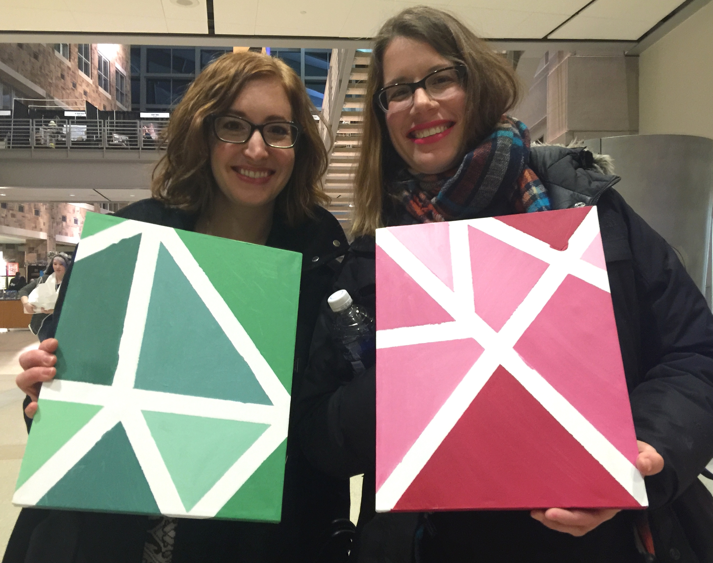 Displaying our canvases from Galentines' Art Night: when finished, they will have the outline of the state of Indiana. A fun project!