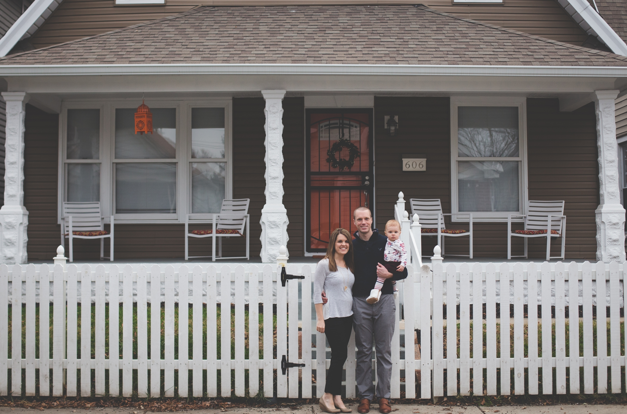 The Ney family in front of their remodeled 1910 bungalow in Bates-Hendricks.   Photo credit:  Addie Bell