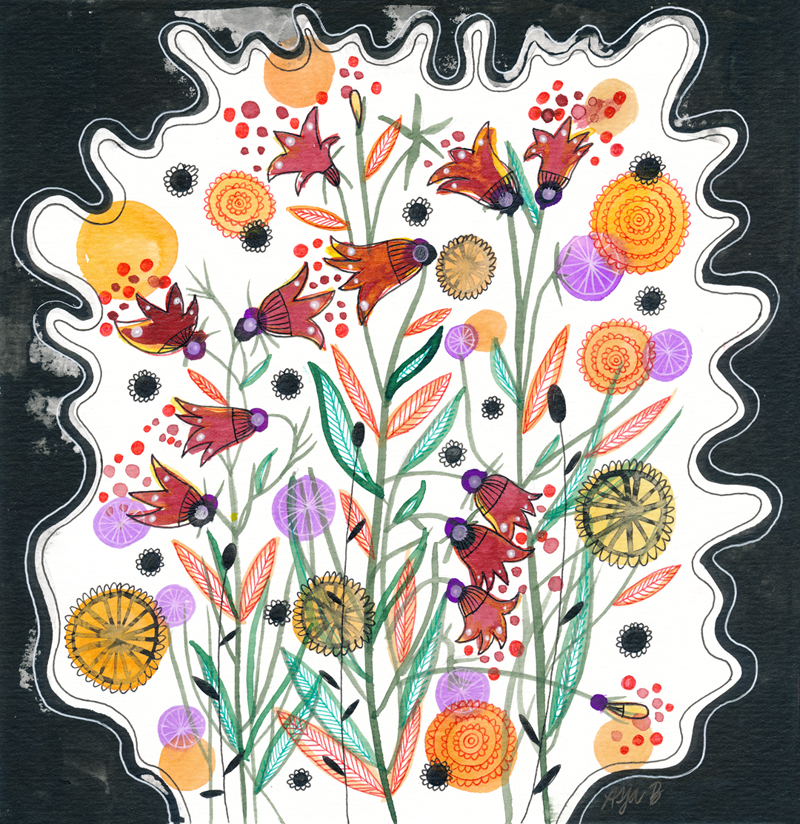 Tiny red flowers , colored drawing ink and gelly rolls on 20x20cm paper.
