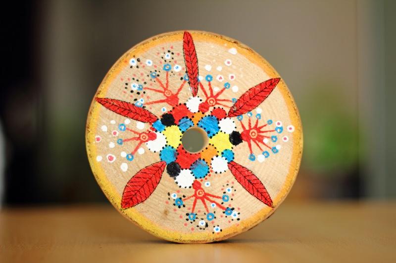 DIY coaster, acrylics on wood
