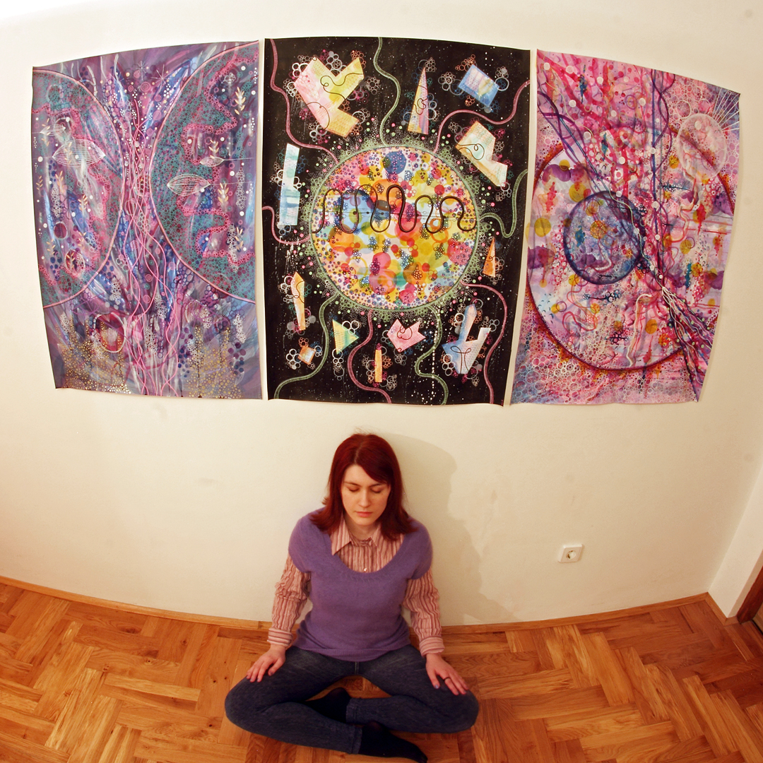 Three big paintings finished: from left to right: Desire, Mr Fantasizer, Cosmic love
