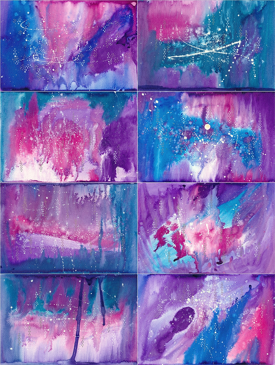 Blue/purple backgrounds, done with ink, they are 18x24cm in size.