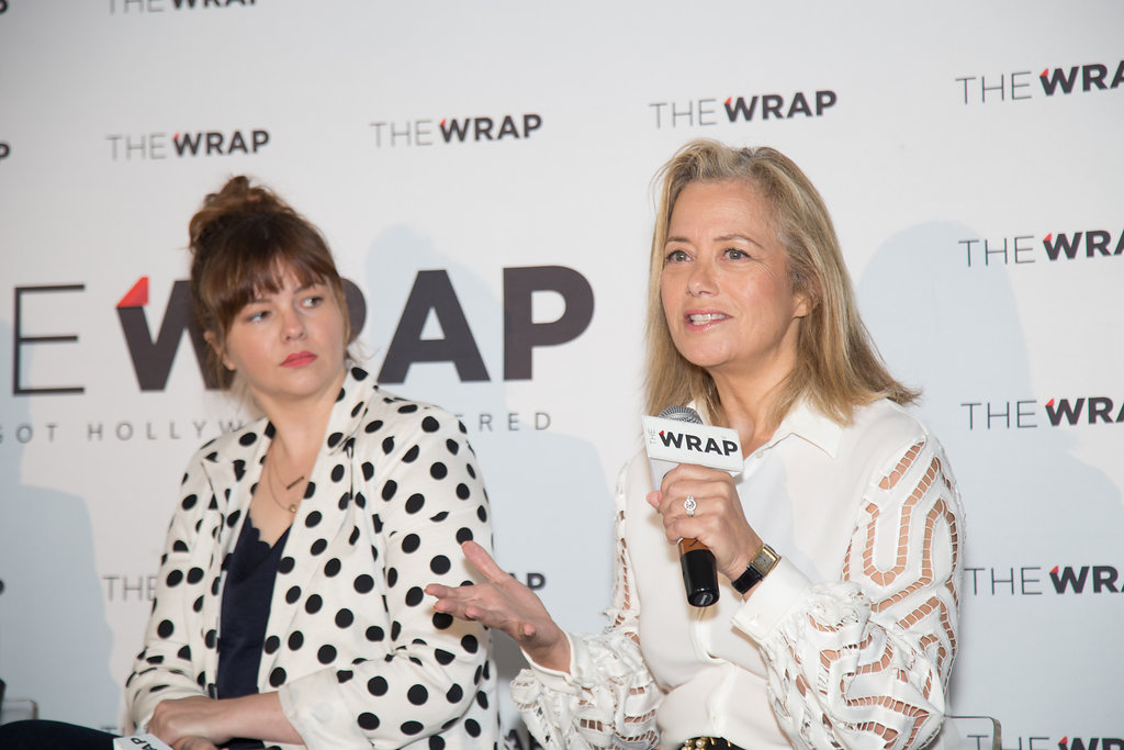 Political consultant Hilary Rosen and   actress-activist Amber Tamblyn on stage presenting at the Power Women Breakfast DC. Photographed by E. Brady Robinson for TheWrap.