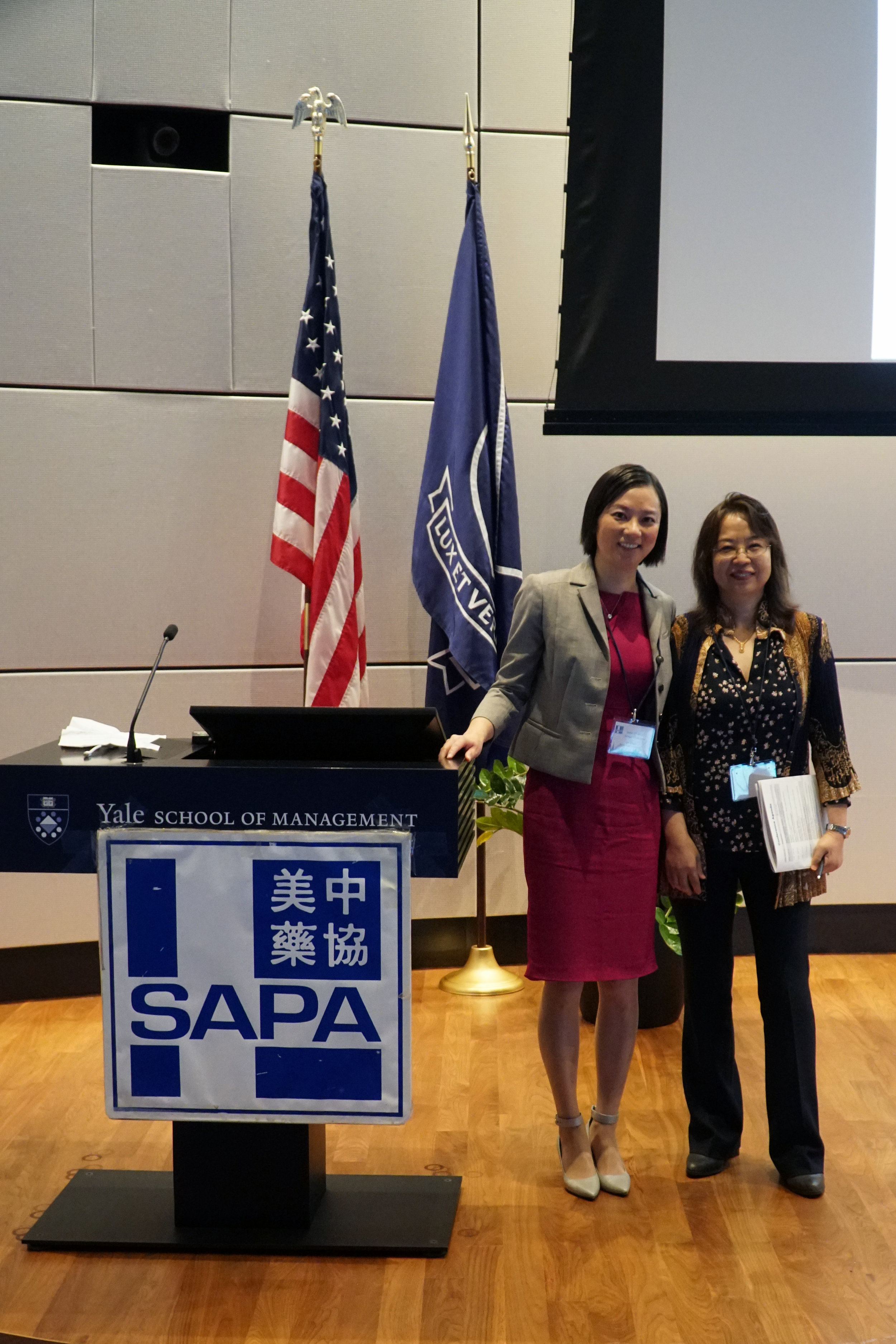 Dr. Jin Zhou with next SAPA-CT President Dr. Li Wang, Professor from University of Connecticut, Physiology and Neurobiology