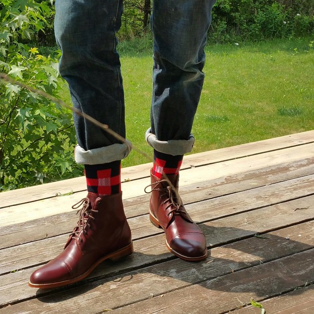 Diggin' on our new @tawnygoods boots (they look damn good with these @coleandparker socks, too...) #menswear #style