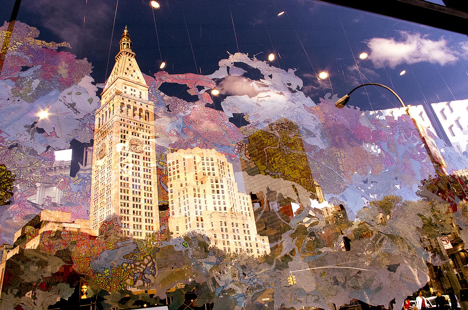 "Madison Square viewed through Flatiron Prow Art Space installation ""Random Land"" by Rebecca Riley"