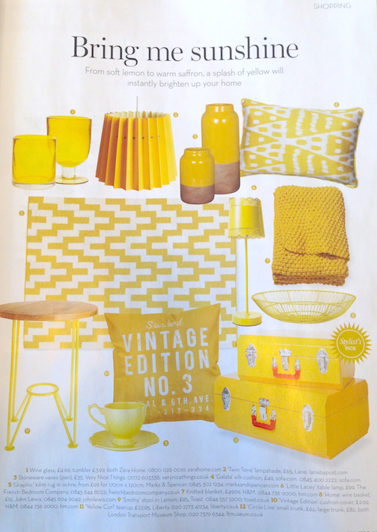 YELLOW TWIN TONE LAMPSHADE IN SHOPPING PAGES OF HOMES & ANTIQUES  We were delighted to see the yellow Twin Tone Lampshade in the Shopping pages of  Homes & Antiques  this month! Their 'Bring me Sunshine' page featured a plethora of exciting design items in all shades of yellow. We were even more pleased to see our lampshade sitting alongside products from Zara Home, Marks & Spencer, Very Nice Things, French Bedroom Company and Liberty, to name a few.
