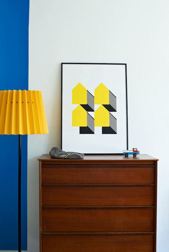 Houses - Yellow and Black screen print
