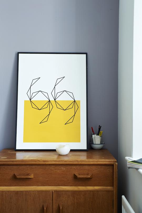 Swimming Yellow screen print