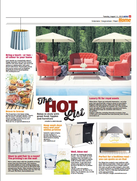 Lane Twin Tone Lampshade in Metro Hot List 11th August 2015.jpg