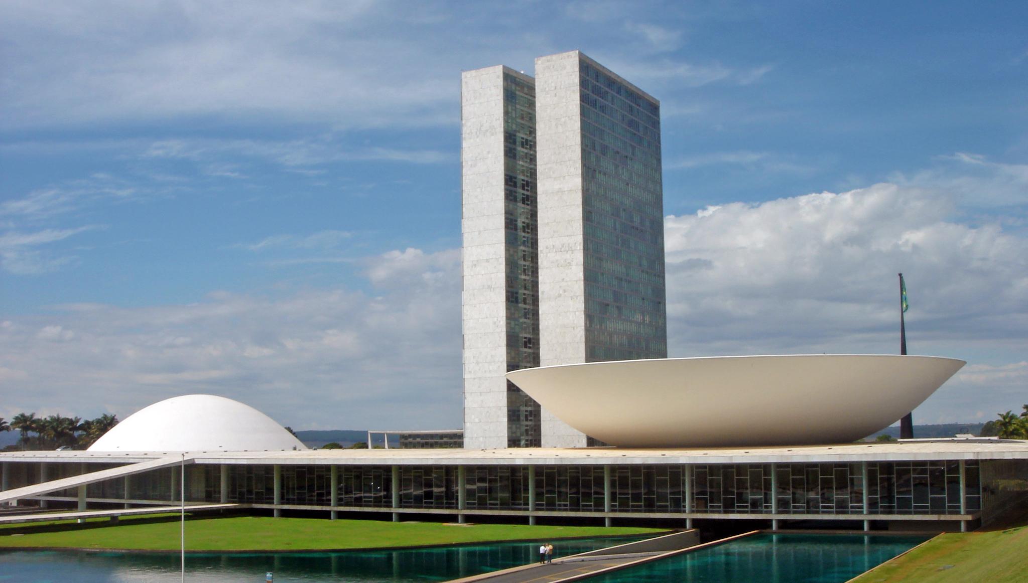 The National Congress of Brazil, Brasilia 1958. Image credit:  Wikipedia .