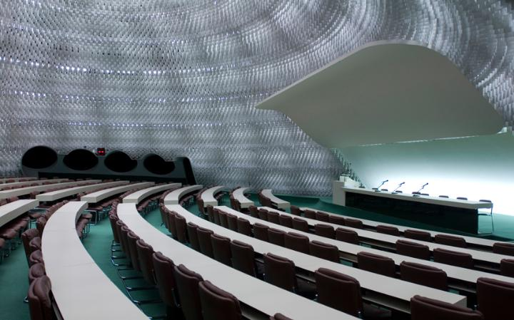 The interior of Oscar Niemeyer's French Communist Party Headquarters. Image credit: VIEW PICTURES LTD / ALAMY .