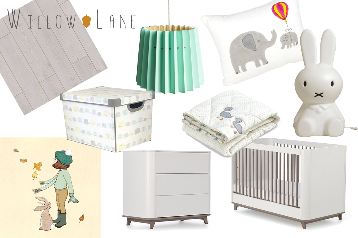 Willow Lane blog baby room mood board featuring Mint & China White Twin Tone Lampshade
