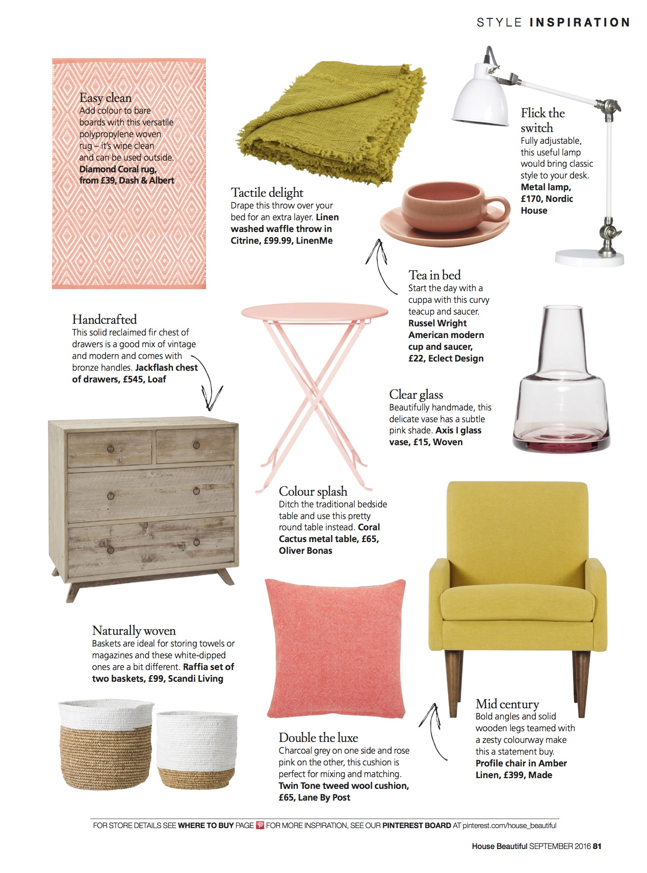 Lane Twin Tone Cushion in Rosie Pink for House Beautiful Magazine 'Moodboard Masterclass', September 2016