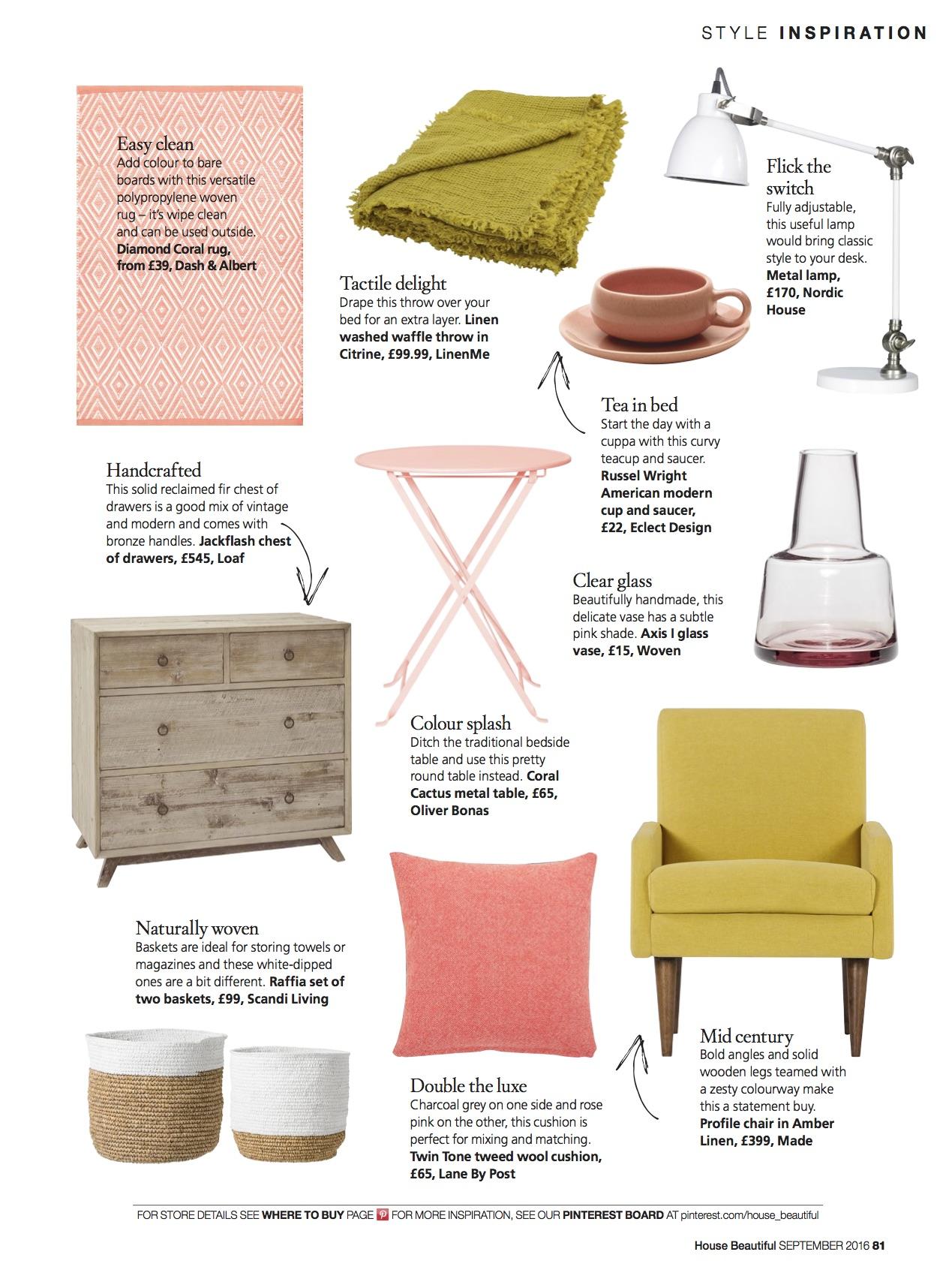 House Beautiful, September 2016,  Lane Twin Tone Cushion - Charcoal & Rosie Pink