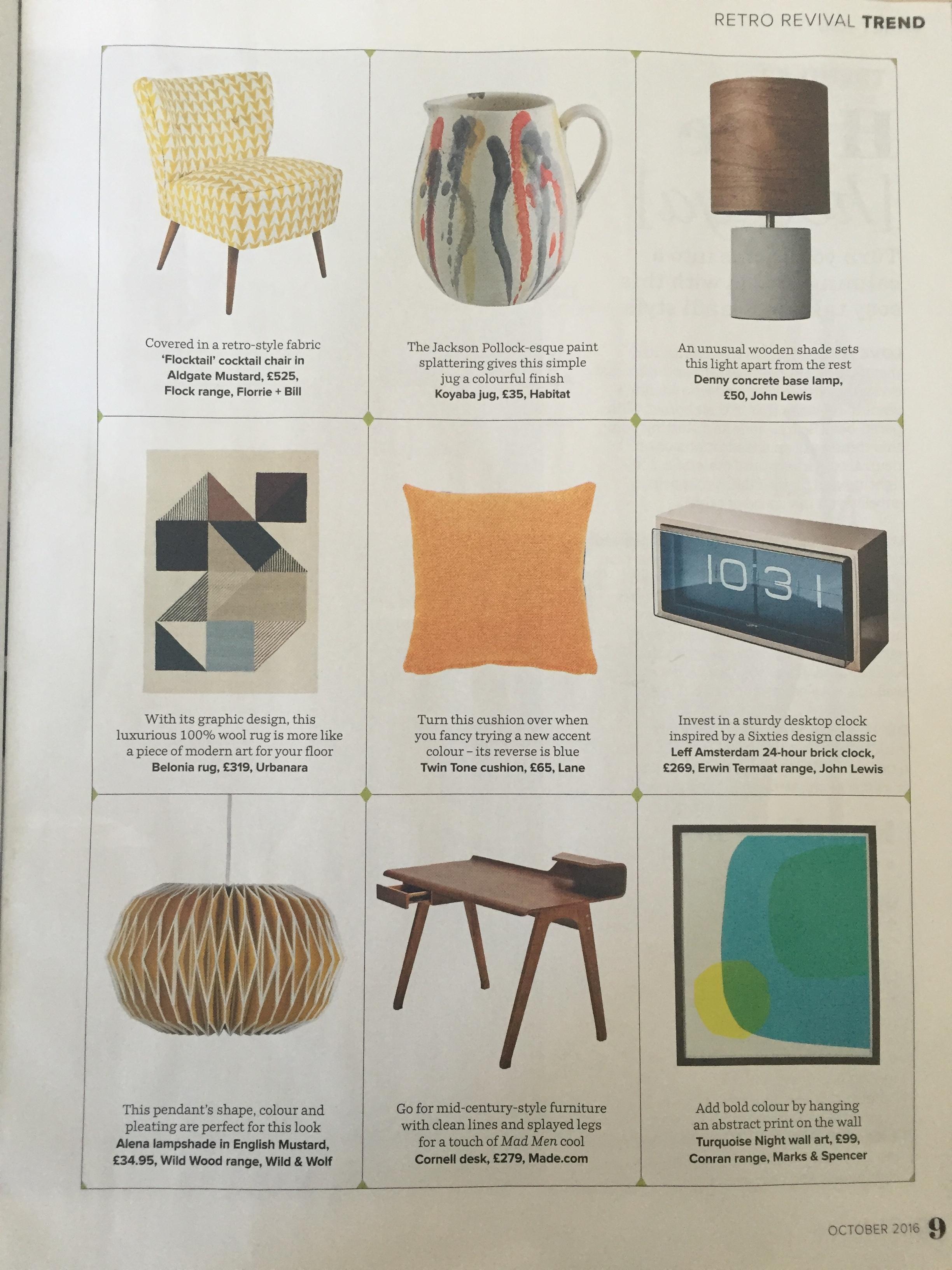 Ideal Home, October 2016, Lane Twin Tone Cushion -  Seville Orange & Mallard Blue