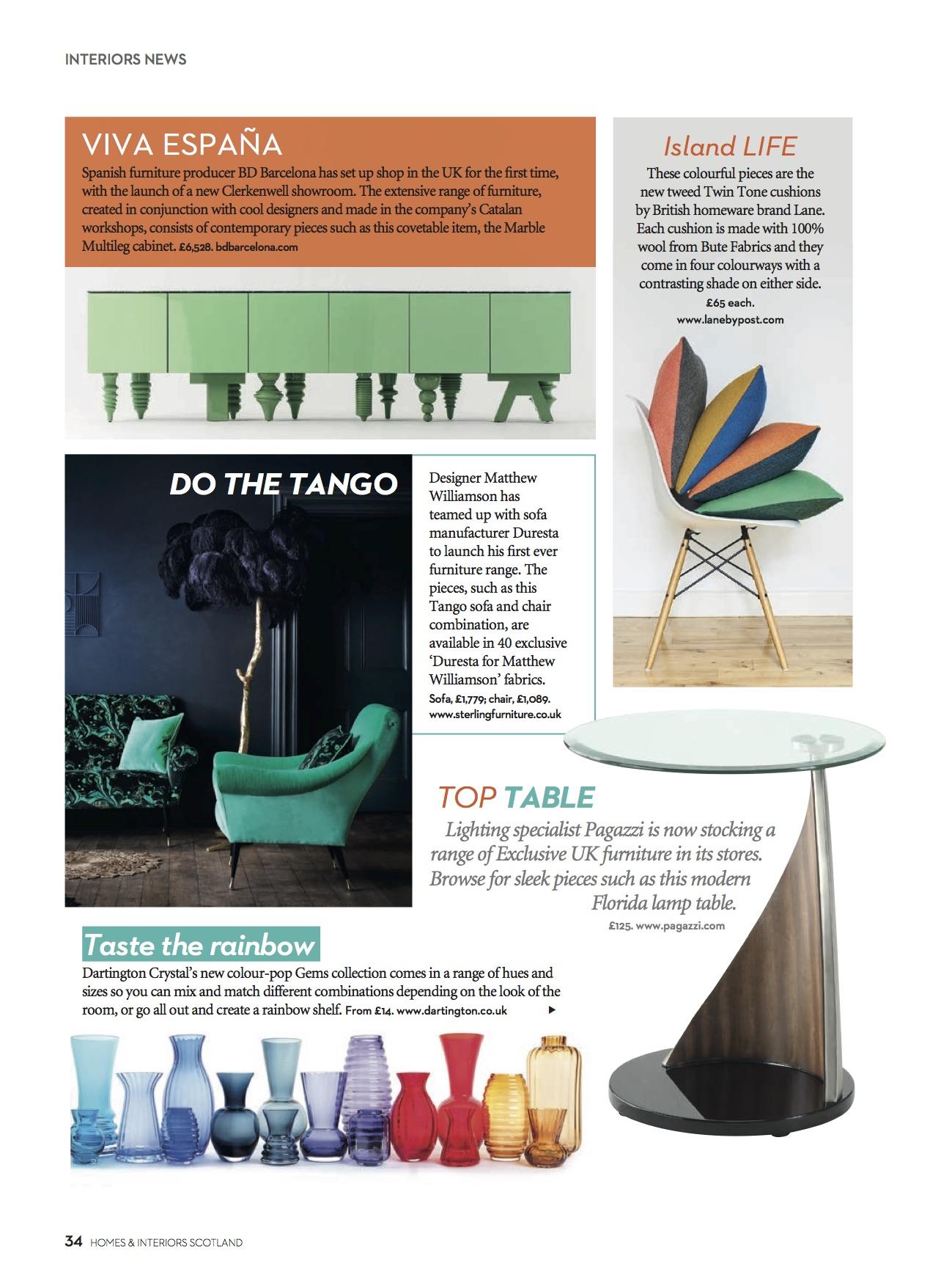 Homes & Interiors Scotland, October 2016, Lane & Little Greene Twin Tone Cushions