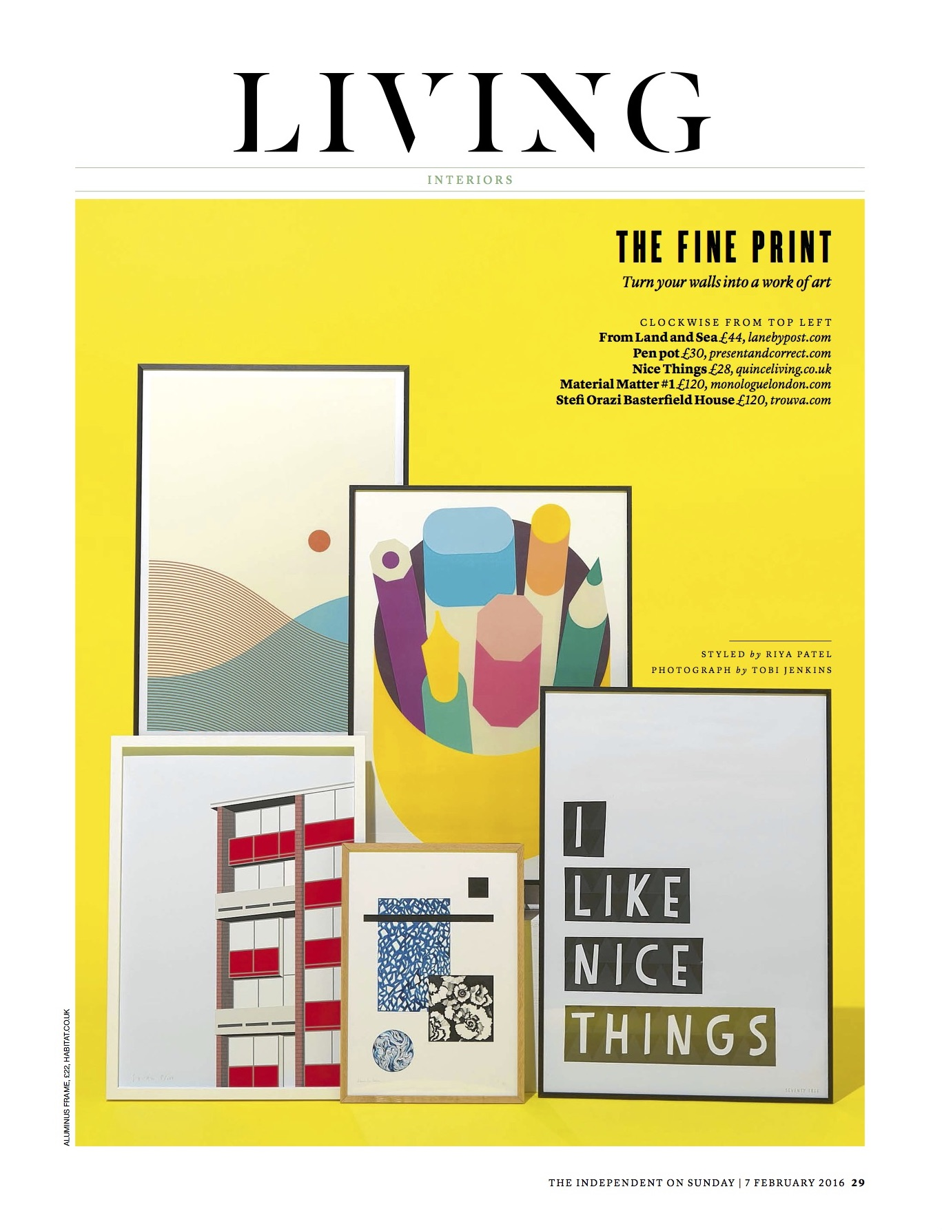 The Independent on Sunday, February 2016,  Lane From Land & Sea hand pulled screen print