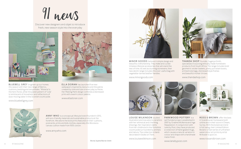 91 Magazine, May 2016,  Lane & Parkwood Pottery stoneware mugs
