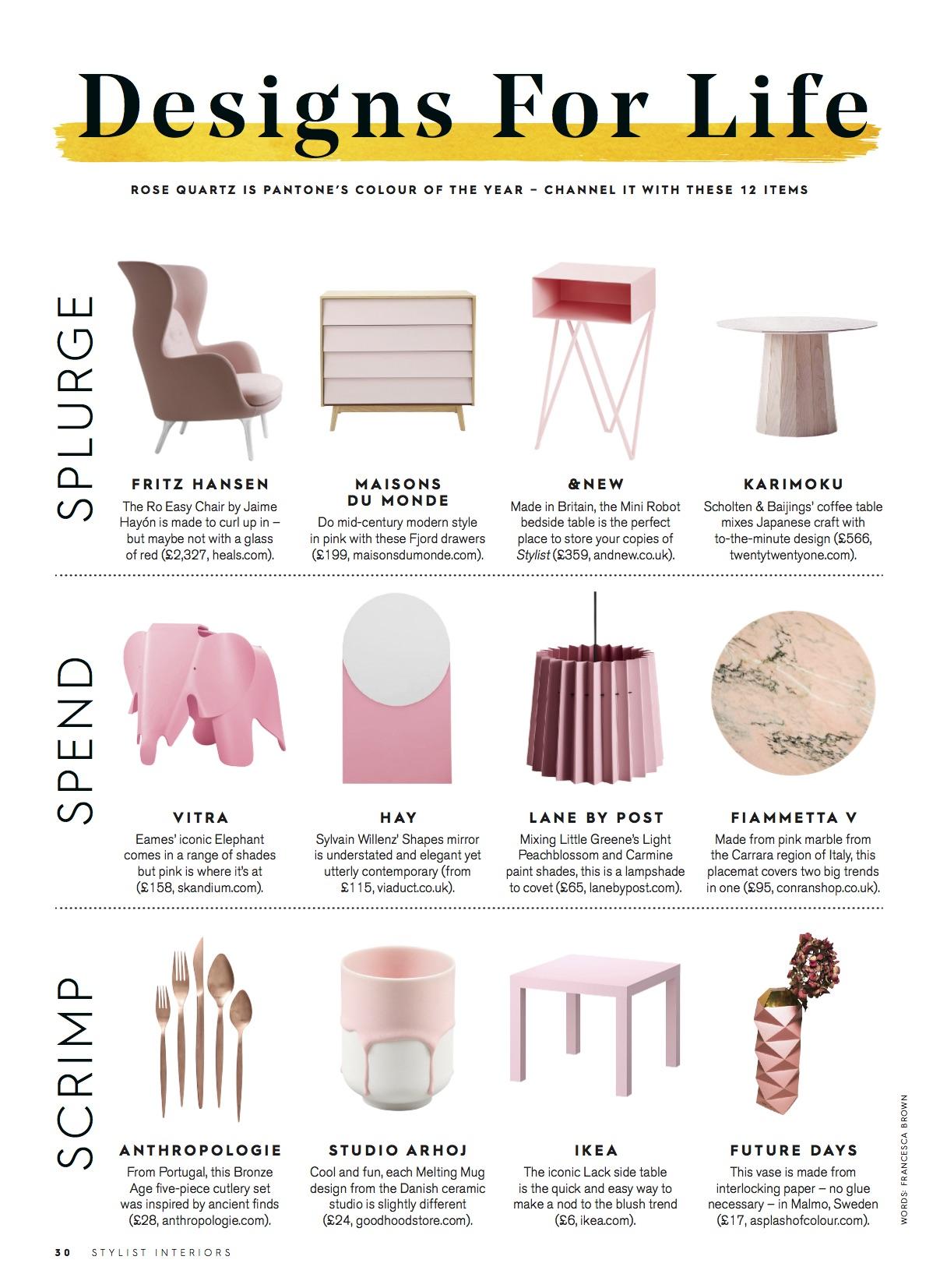 Stylist Magazine, April 2016,  Lane & Little Greene Twin Tone Lampshade - Light Peachblossom & Carmine