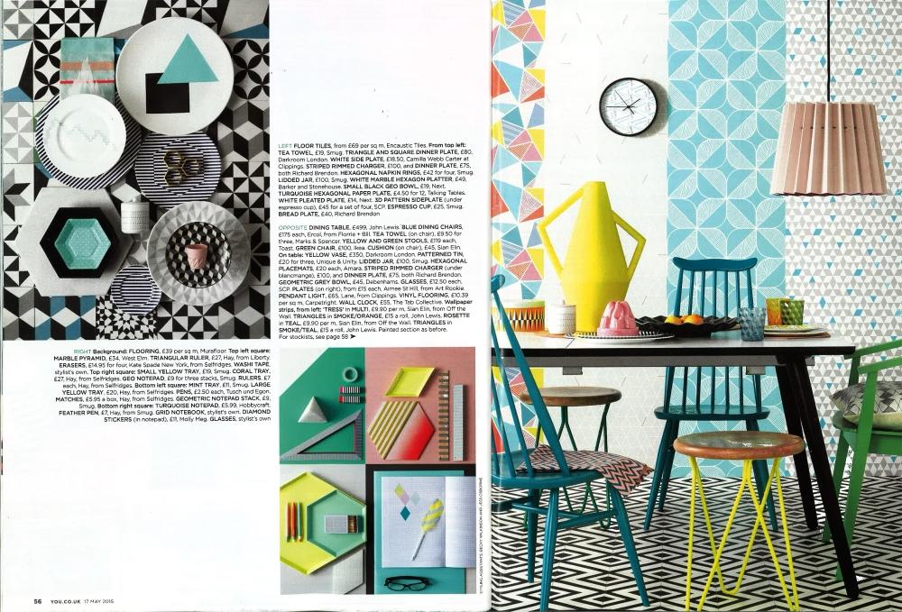 You Magazine, May 2015,  Lane & Little Greene Twin Tone Lampshade - Light Peachblossom & Carmine