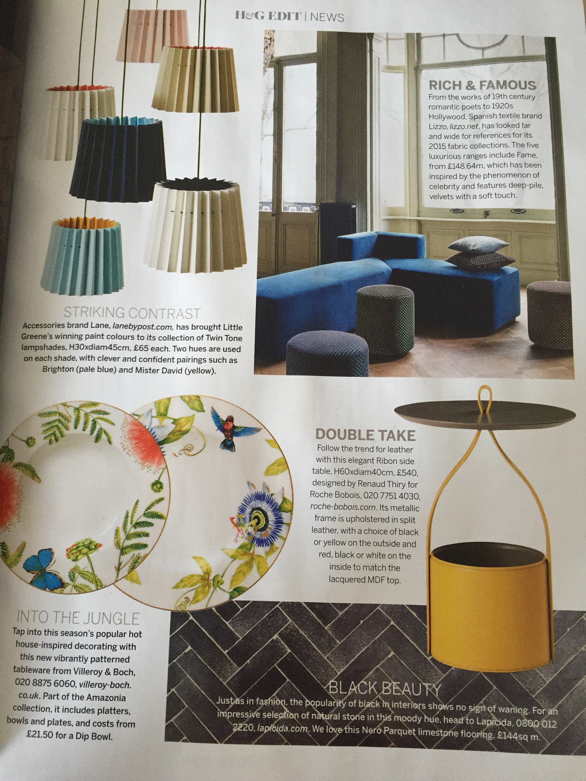 Homes & Gardens, April 2015,  Lane & Little Greene Twin Tone Lampshades